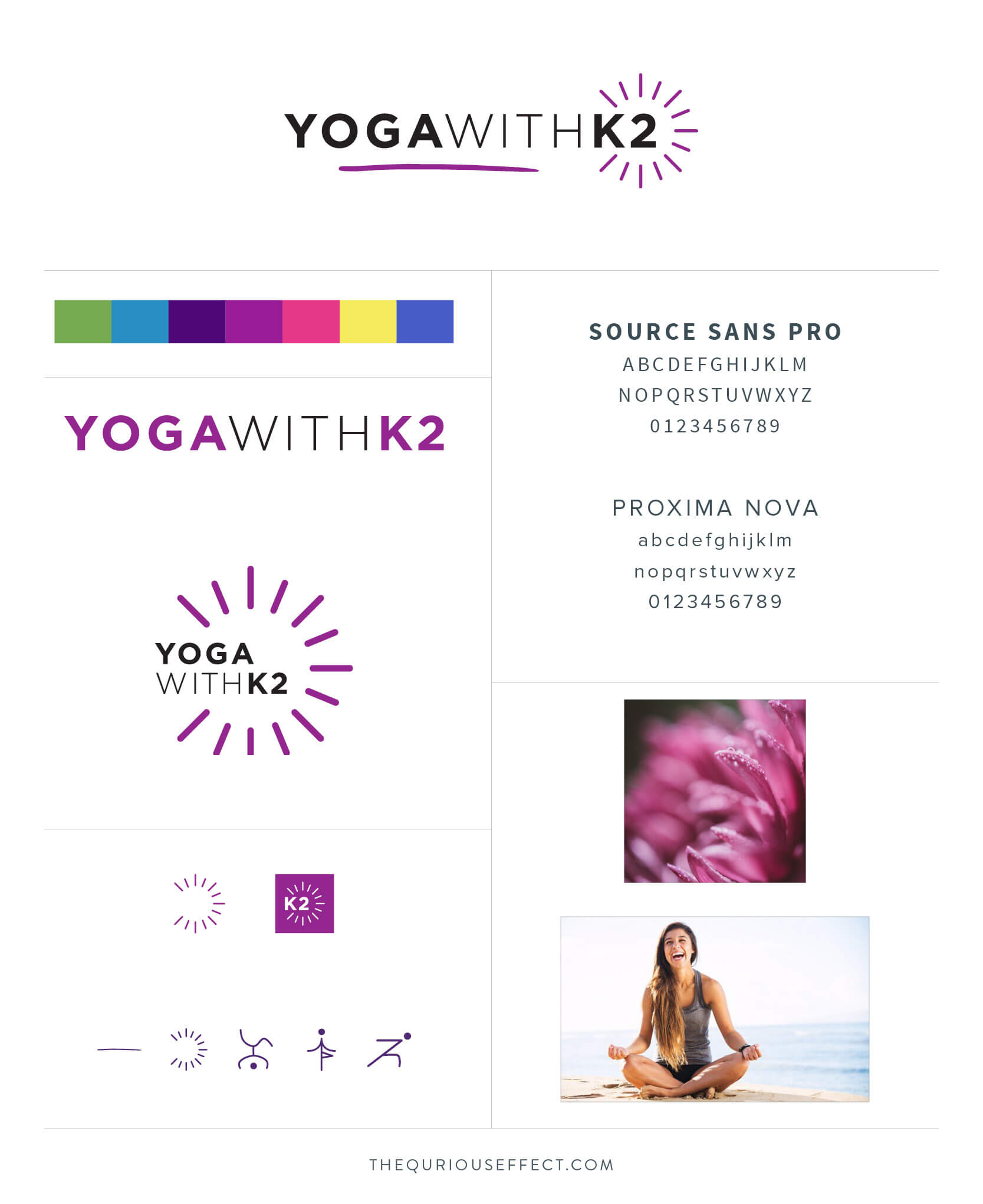 Yoga with K2 brand board by The Qurious Effect. A brand identity and Squarespace web design studio.