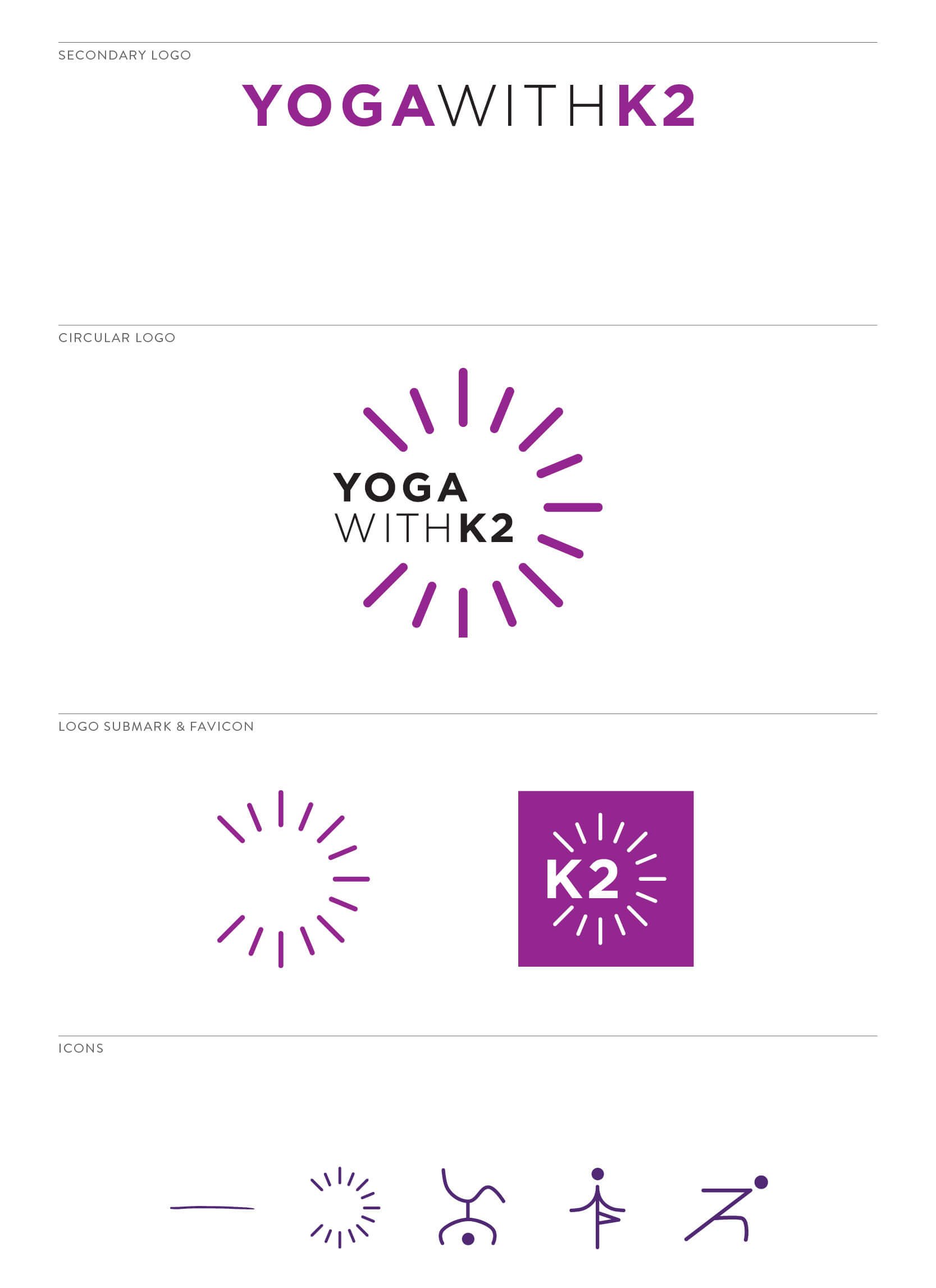 Yoga with K2 Submarks and Icons by The Qurious Effect, a brand and Squarespace web design studio for unstoppable entrepreneurs