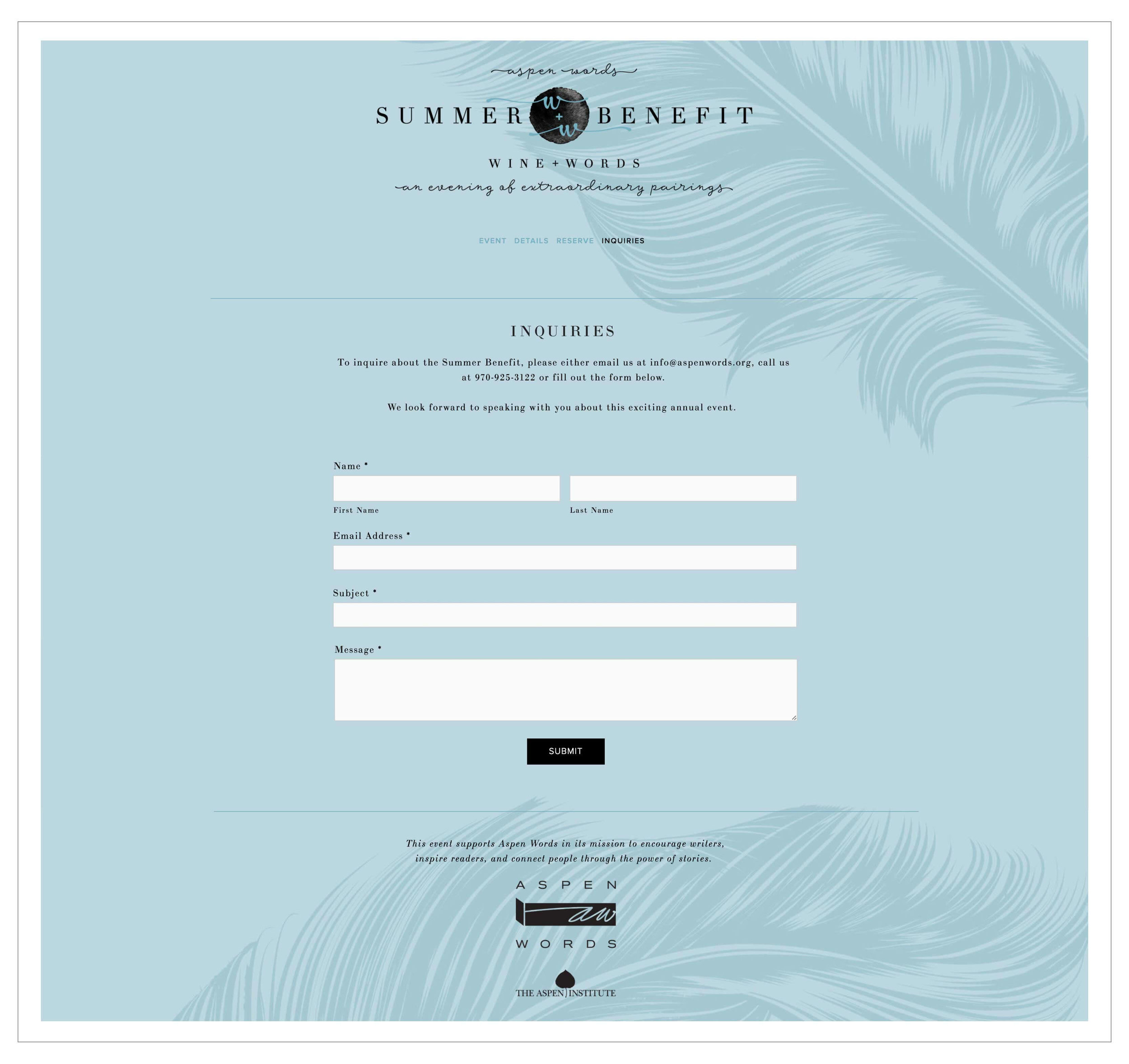 Summer Benefit Squarespace website design by the Qurious Effect