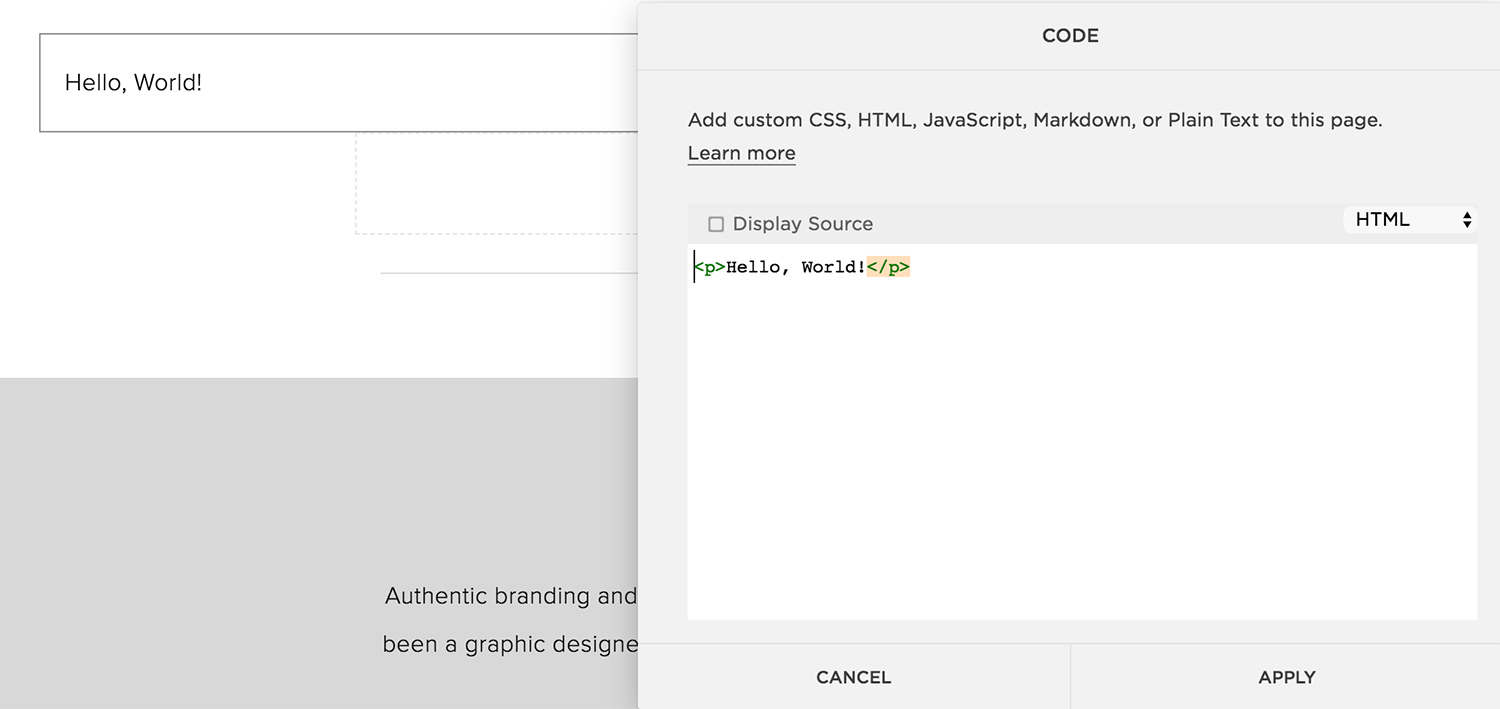Image of Squarespace code block ready for code to be placed for creating hover effects on images. The Qurious Effect, Squarespace website design.