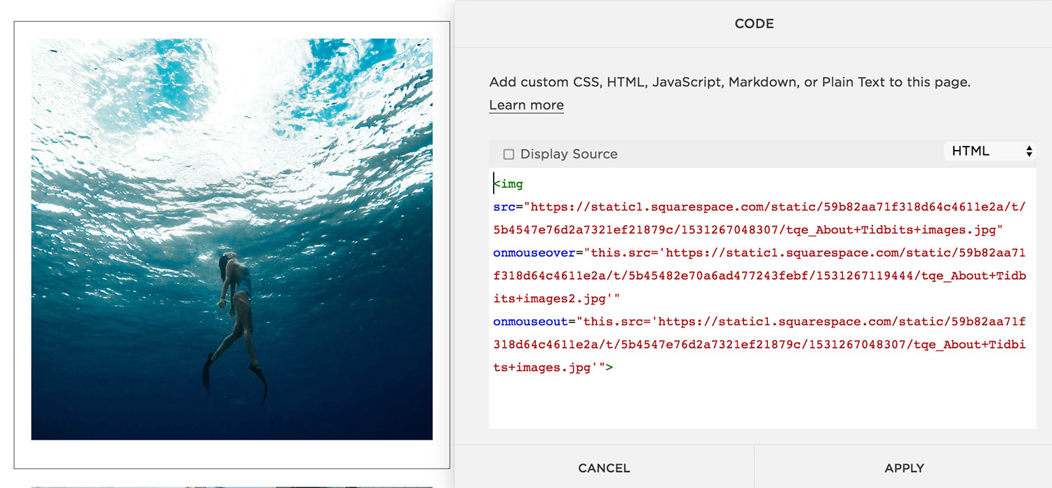 Image showing code placed in code block used to create hover effects on images in Squarespace. The Qurious Effect, Squarespace website designer.