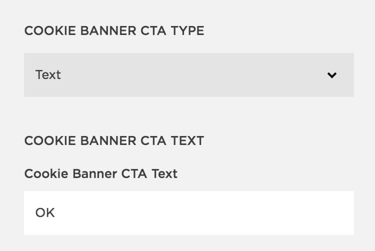 Image showing Squarespace's Cookie Banner CTA type options by The Qurious Effect | Squarespace web designer