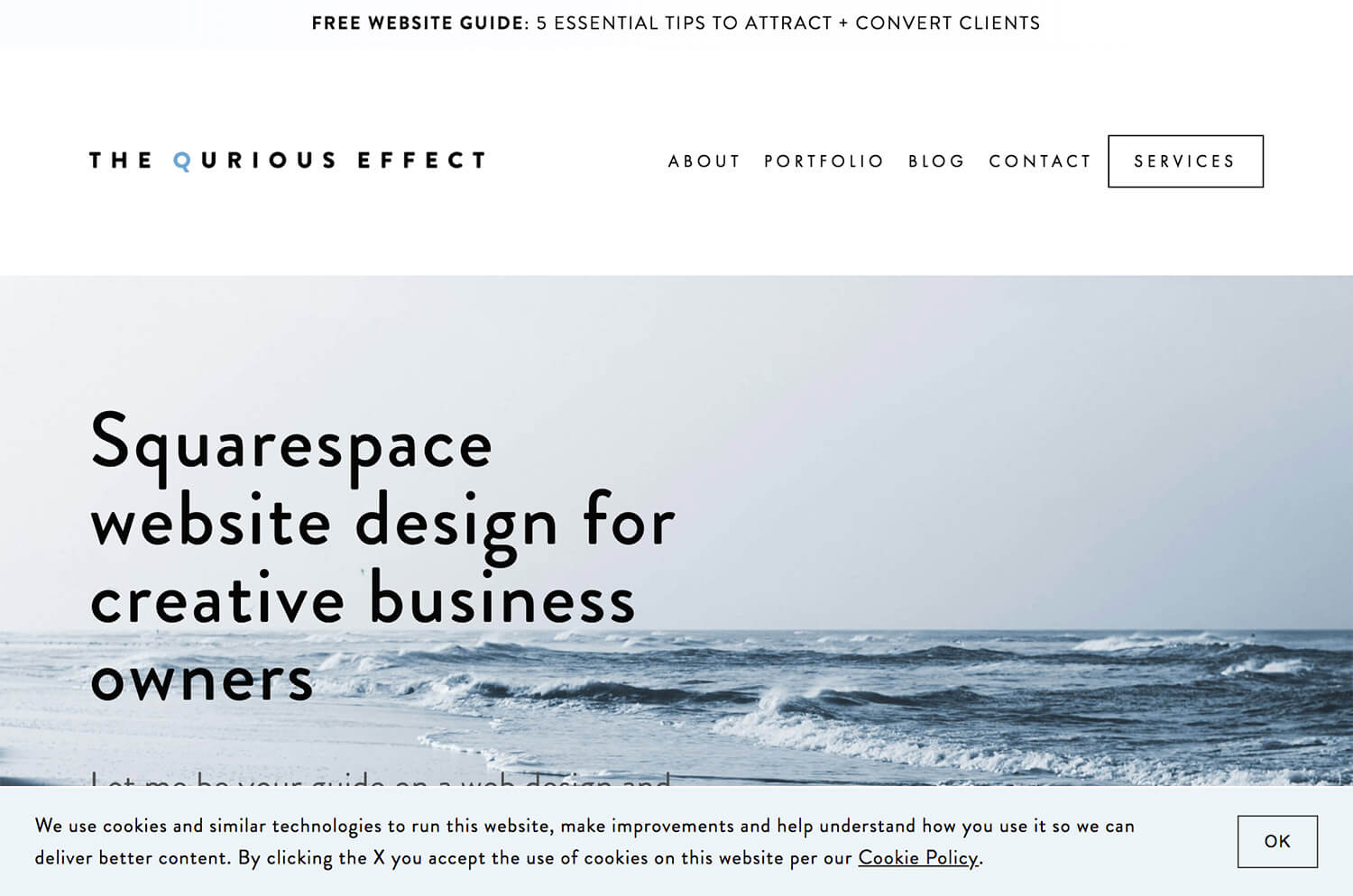 Image of the Squarespace Cookie Banner bottom banner option with button CTA. Via The Qurious Effect.