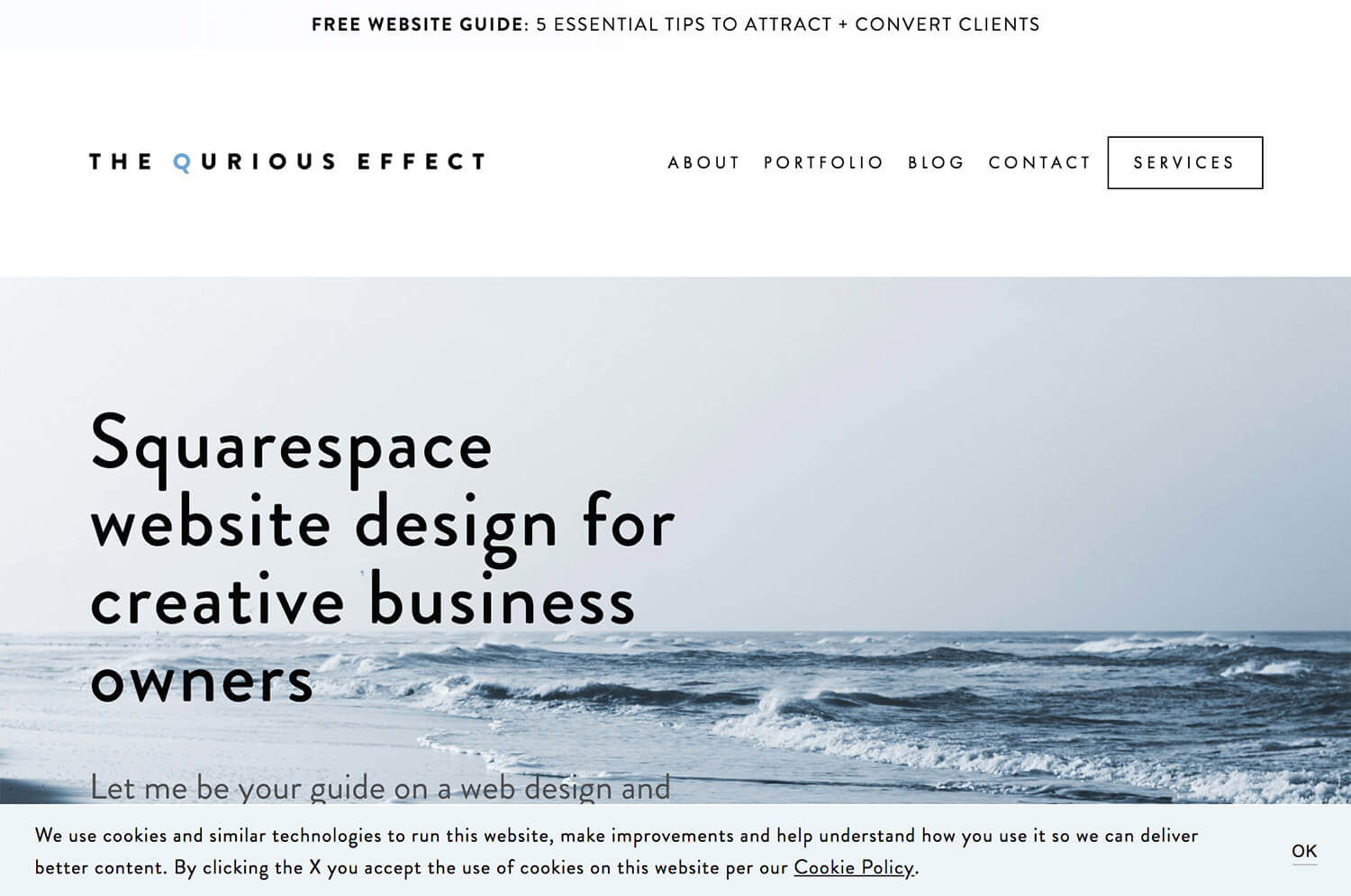 Image of the Squarespace Cookie Banner bottom banner option with text CTA. Via The Qurious Effect.