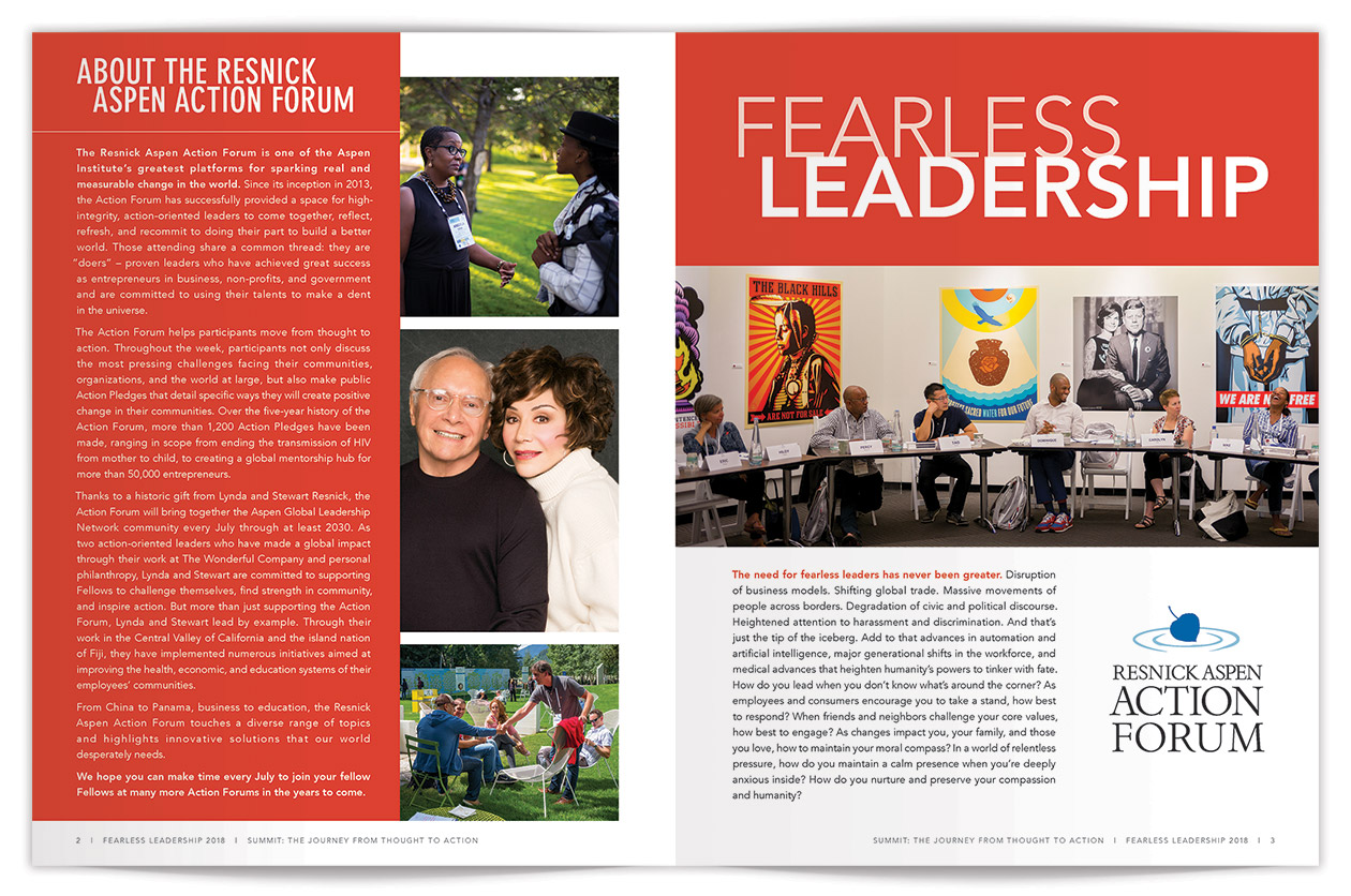 Resnick Aspen Action Forum Summit Magazine Spread pages 2-3 | Design by The Qurious Effect.