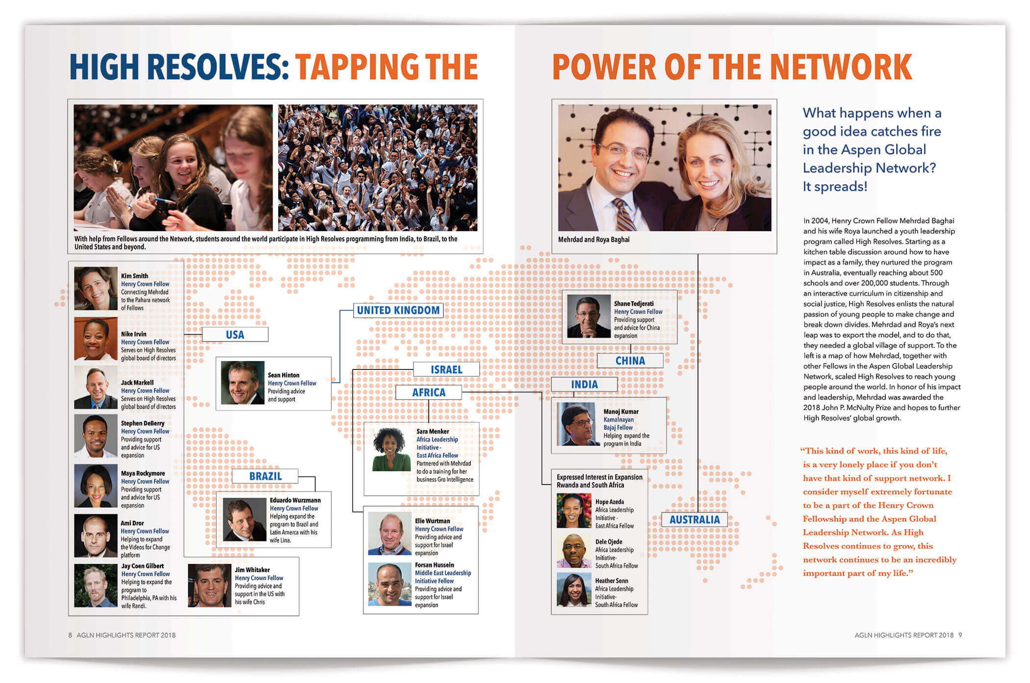 Aspen Global Leadership Network Annual Report pages 8-9 | Nonprofit Annual Report Design by The Qurious Effect.