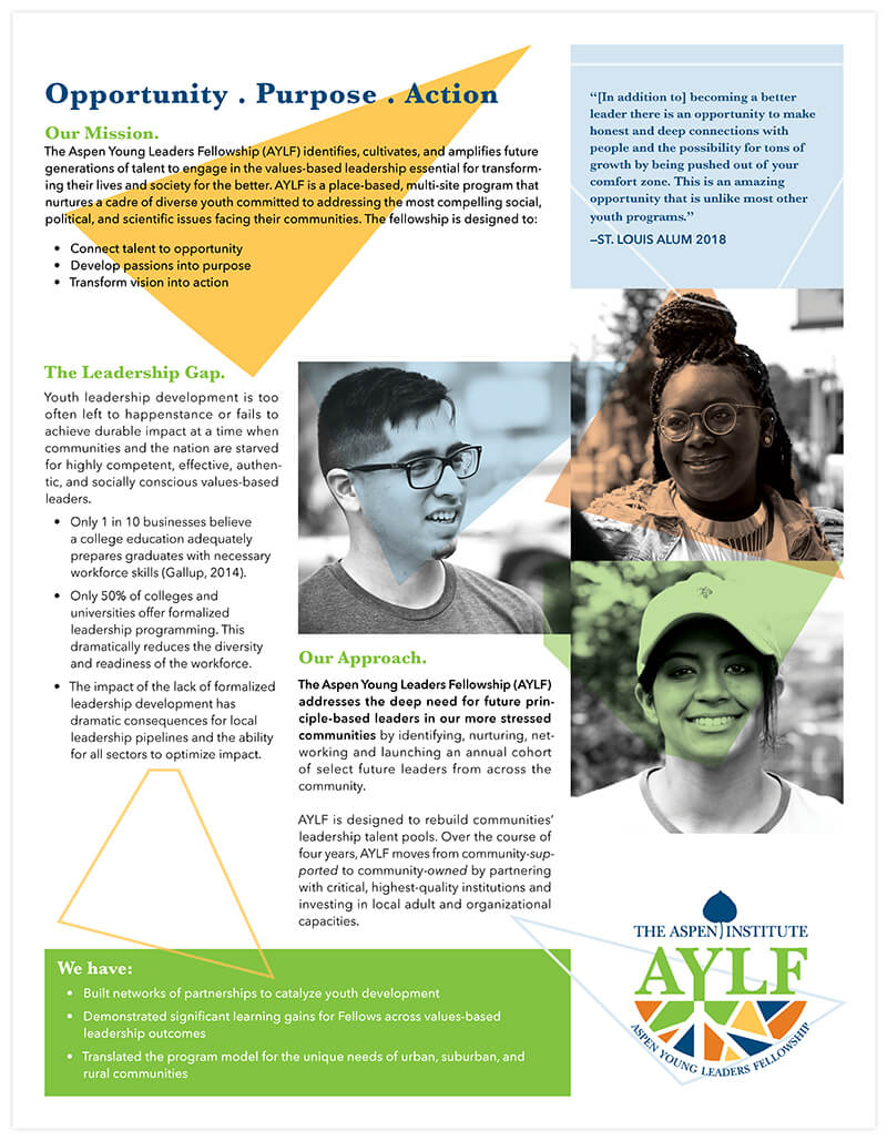 Aspen Young Leaders Fellowship One Sheet front | Nonprofit Marketing Collateral Design by The Qurious Effect.