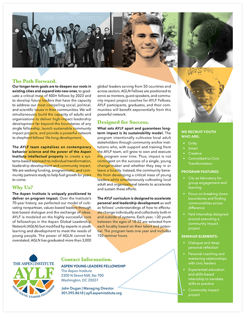 AYLF_OneSheet2-800.jpgAspen Young Leaders Fellowship One Sheet back | Nonprofit Marketing Collateral Design by The Qurious Effect.