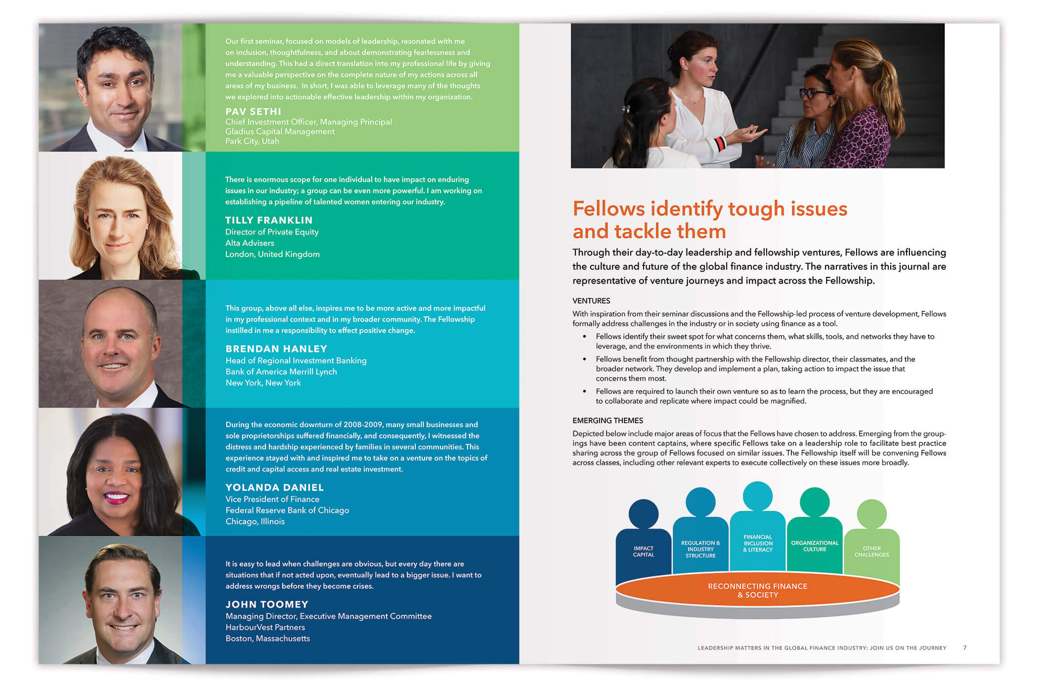Finance Leaders Fellowship Brochure Spread pages 6-7 | Nonprofit Brochure Design by The Qurious Effect.