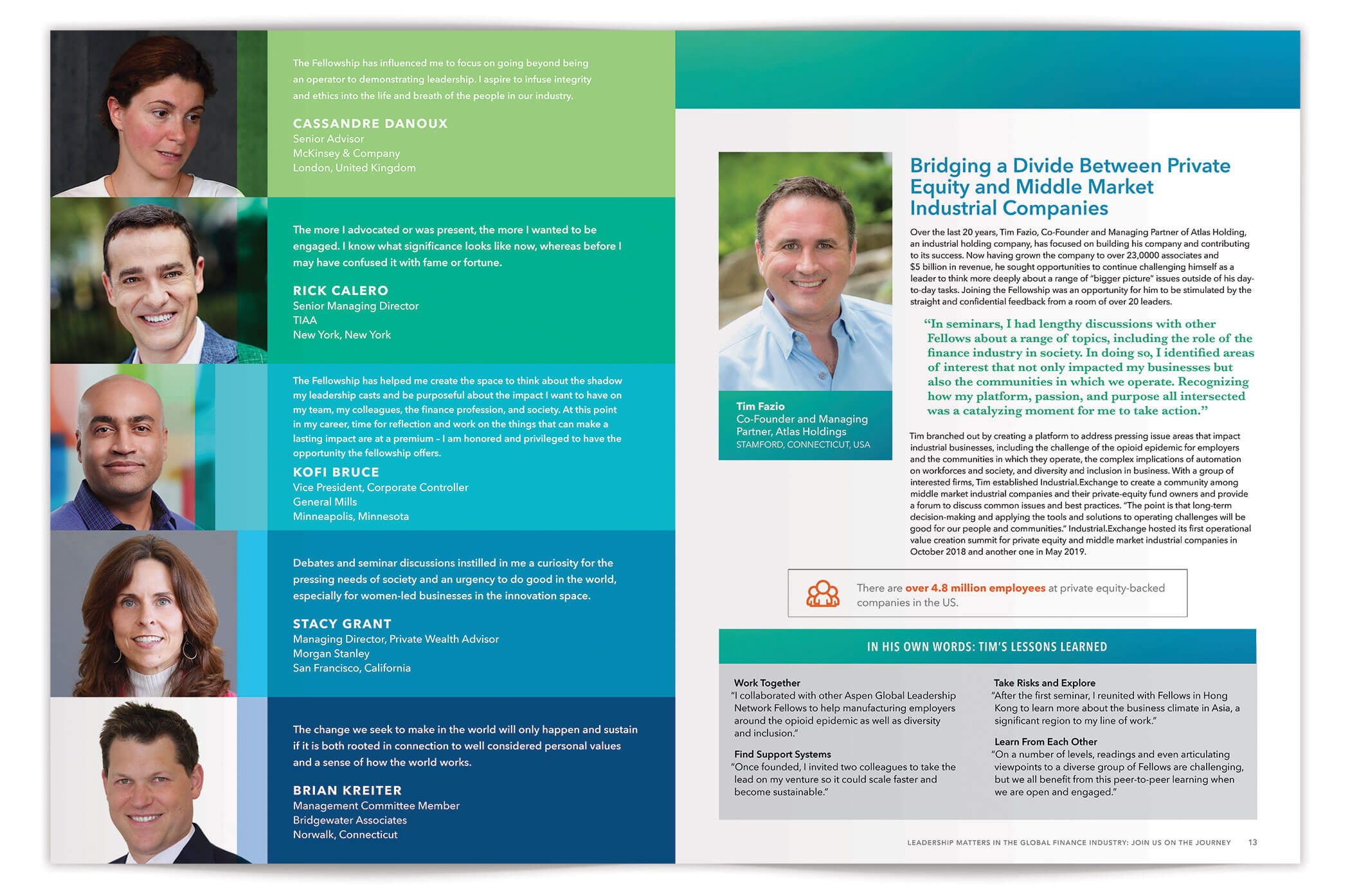 Finance Leaders Fellowship Brochure Spread pages 12-13 | Nonprofit Brochure Design by The Qurious Effect.