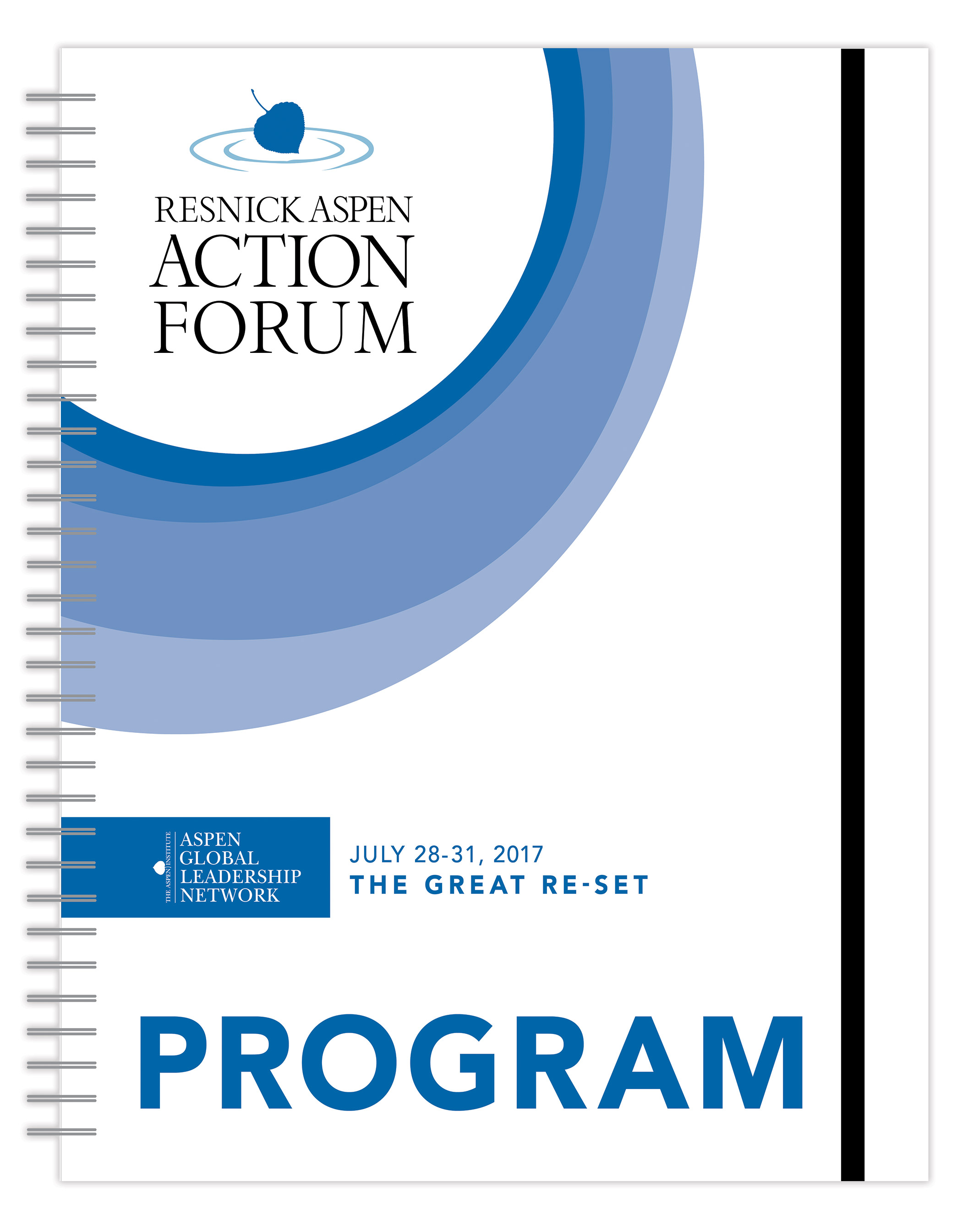 Resnick Aspen Action Forum Event Program Cover | Nonprofit Event Program Design by The Qurious Effect.