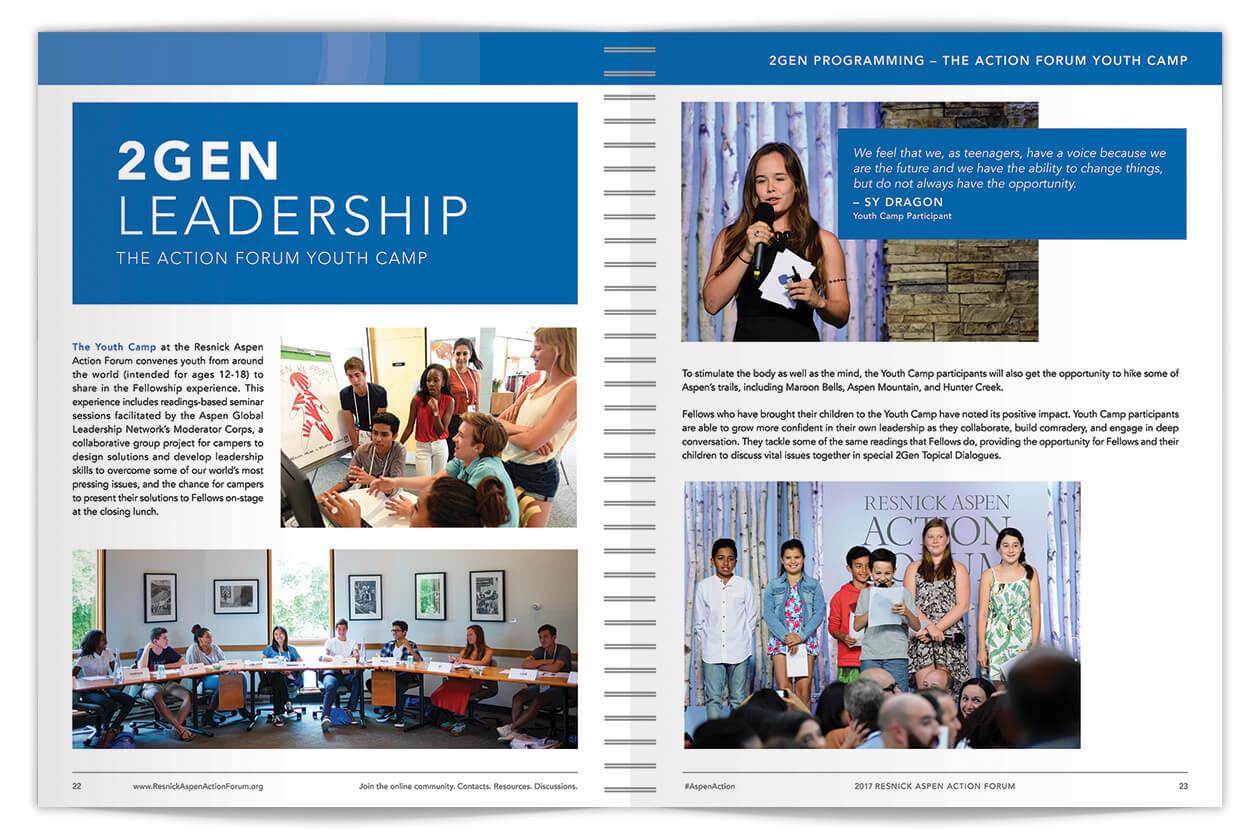 Resnick Aspen Action Forum Event Program Spread pages 22-23 | Nonprofit Event Program Design by The Qurious Effect.