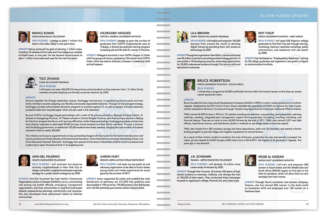 Resnick Aspen Action Forum Event Program Spread pages 42-43 | Nonprofit Event Program Design by The Qurious Effect.
