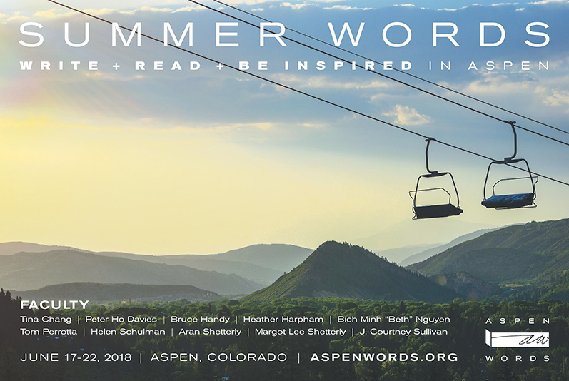 Aspen Words Summer Words Postcard front | Event Collateral Design by The Qurious Effect.
