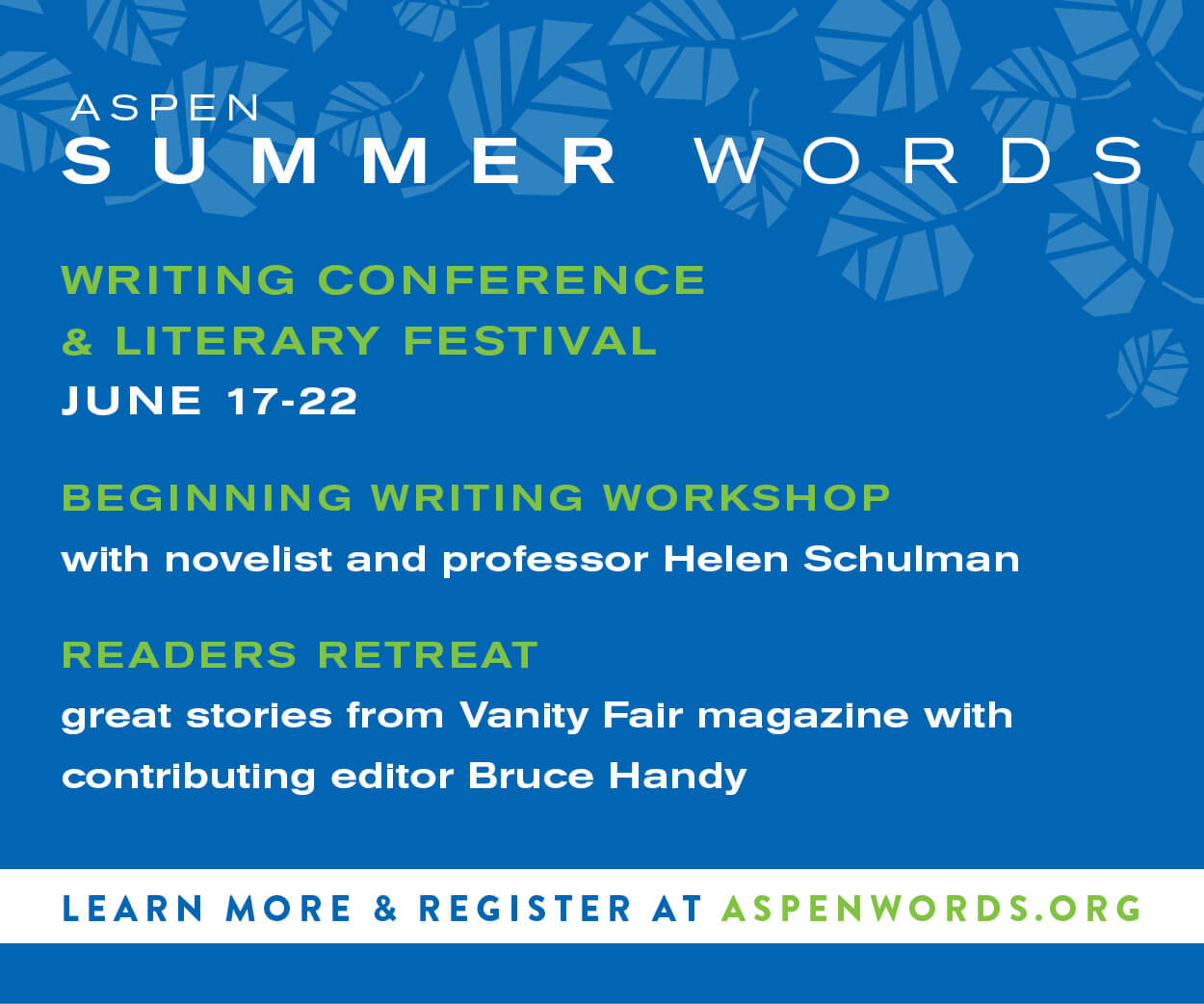 Aspen Words Summer Words Digital Advertising | Event Collateral Design by The Qurious Effect.