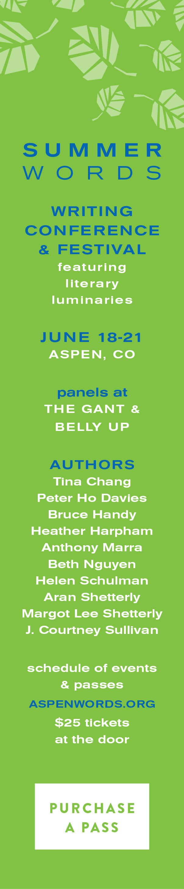 Aspen Words Summer Words Digital Advertising   Event Collateral Design by The Qurious Effect.