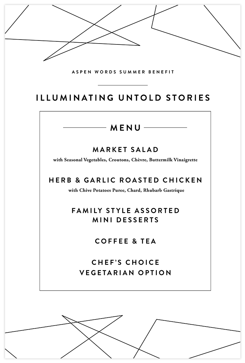 Aspen Words Summer Words Benefit Menu | Nonprofit Event Collateral Design by The Qurious Effect.