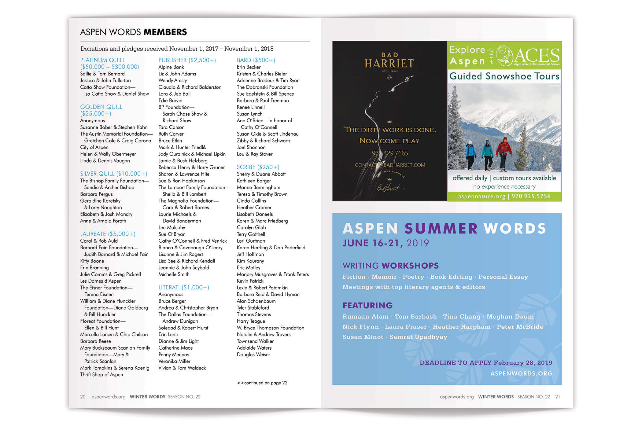 Aspen Words Winter Words Event Program Spread pages 20-21 | Nonprofit Event Program Design by The Qurious Effect.
