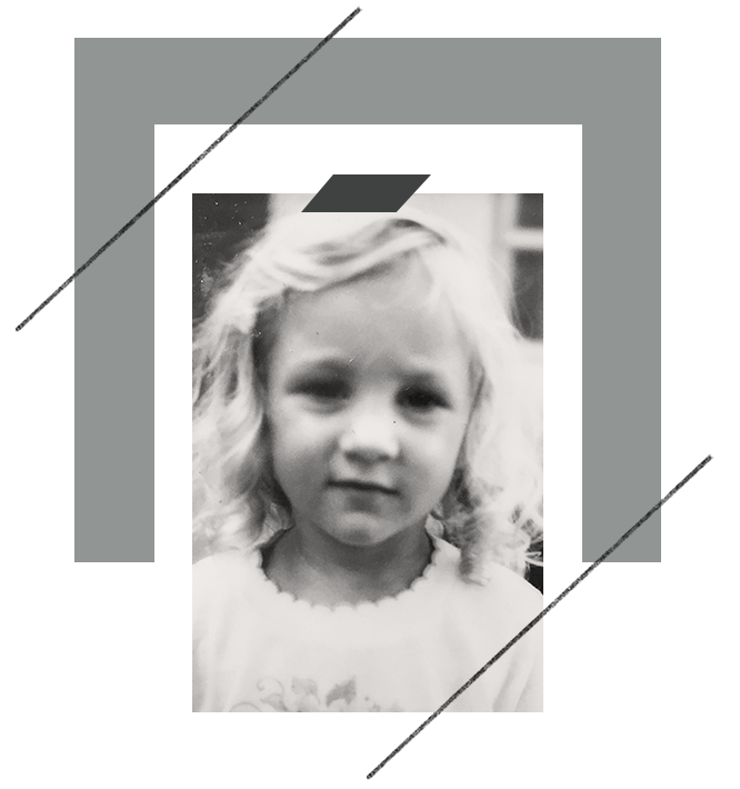 Photo of Sharon, as a child, from the Qurious Effect, Nonprofit Graphic Design.
