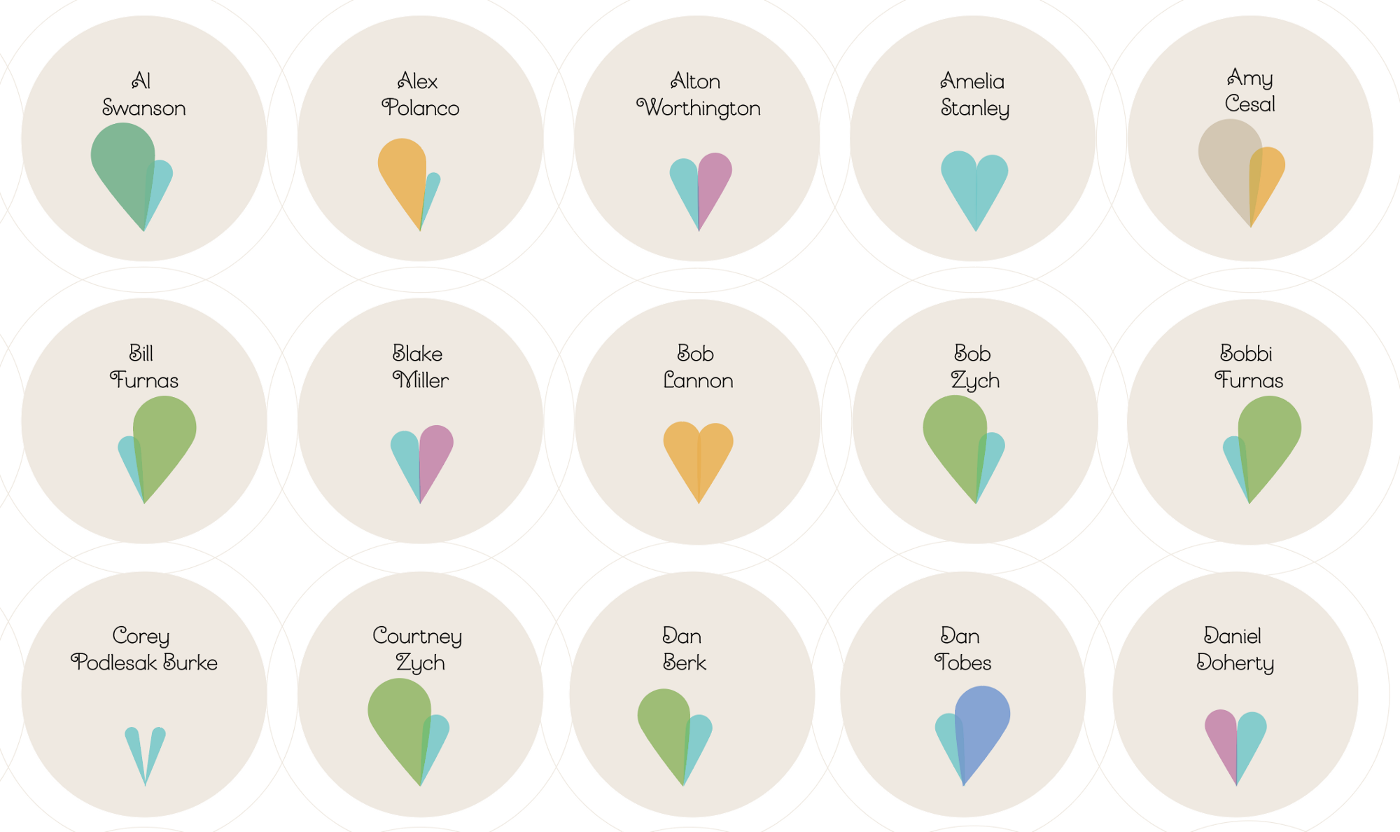 Amy and Zander's wedding guest badges