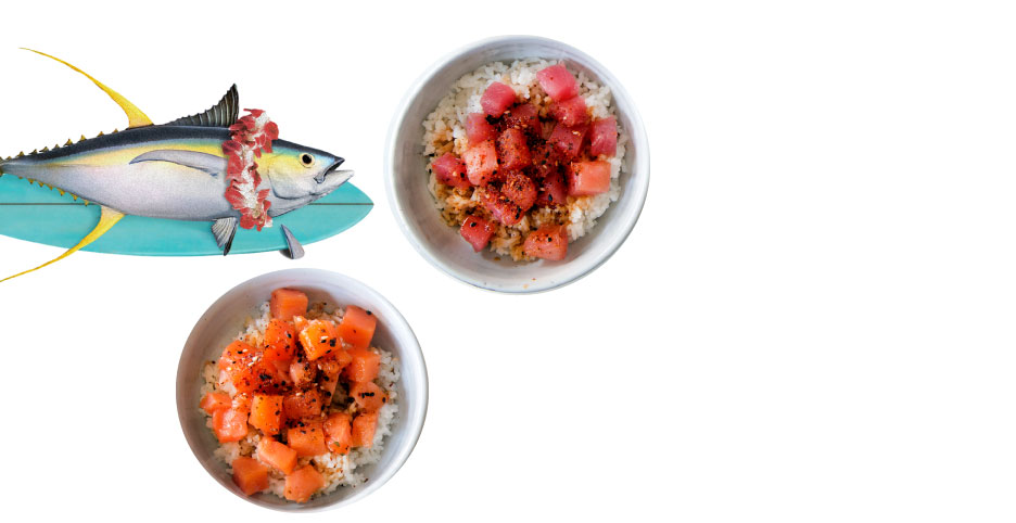 Blue Hill Bay Poke Bowls. A delicious, ready to eat meal offered in two protein options, both Smoked Ahi Tuna and Smoked Salmon.