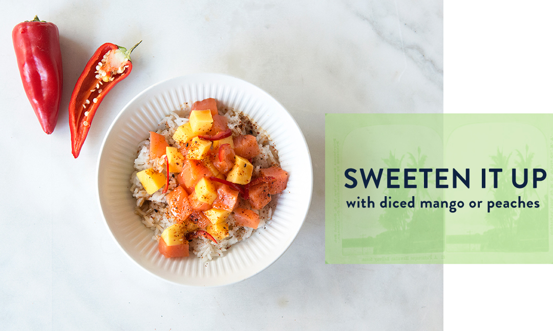 Blue Hill Bay Poke Recipe Idea 2: Sweeten it up with mango and/or peaches