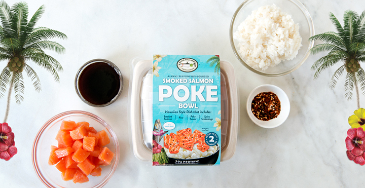 SMOKED SALMON POKE BOWL - The Smoked Salmon Poke Bowl pairs great taste with pre-portioned single-serve convenience. Our Poke Bowl contains Smoked Salmon cubes that are lightly salt-cured and slowly cold smoked with a blend of natural hardwoods. The Smoked Salmon Poke Bowl also includes a microwave-ready rice packet, Acme's signature Poke sauce, and our special blend of Poke seasoning. Simply heat rice, combine ingredients, and enjoy a protein-packed treat any time of the day.