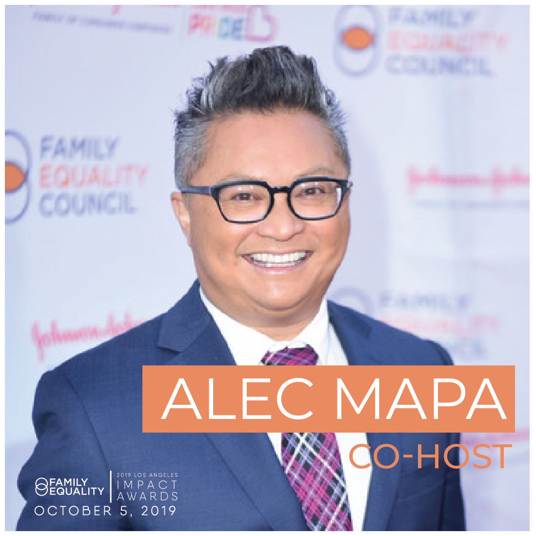 Sample caption: What can't this guy do? Can't wait to join my friend  @alecmapa  and  @familyequality  in celebrating all those who make a difference in the lives of #LGBTQ+ families and youth. #LAImpactAwards