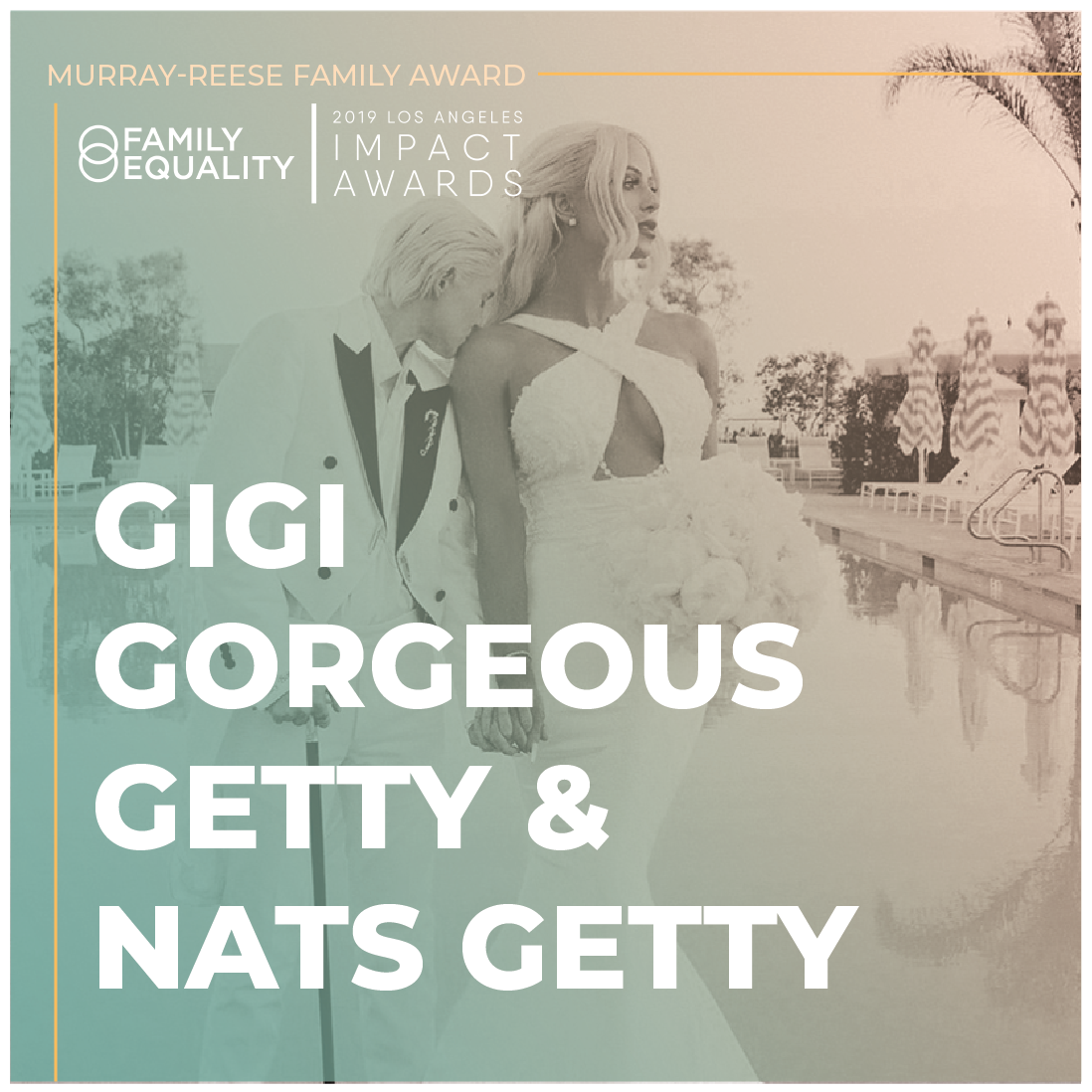 Sample caption: It's about time we celebrated people who make #LGBTQ lives better. Can't wait to join  @familyequality  in honoring  @gigigorgeous  and  @NatsGetty  at the #LAImpactAwards. laimpactawards.com