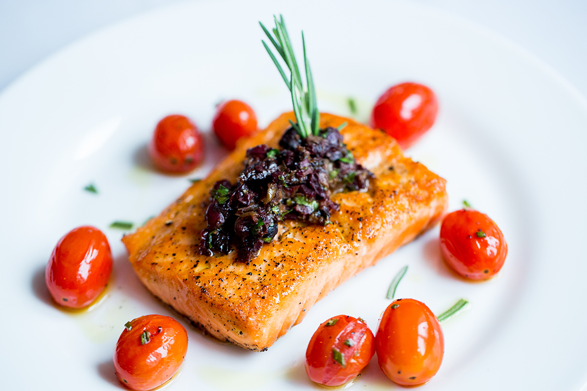 roasted salmon with tapenade & grape tomatoes