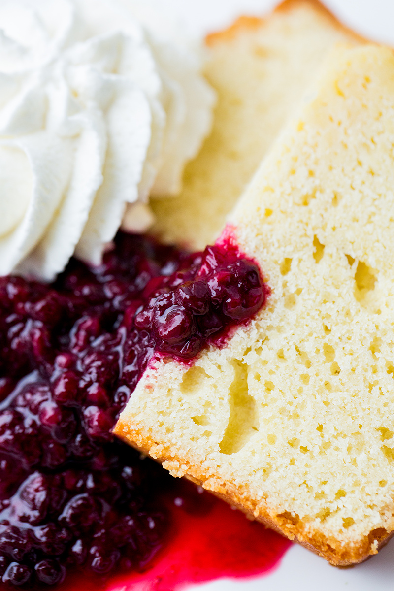 lemon pound cake with blackberry compote