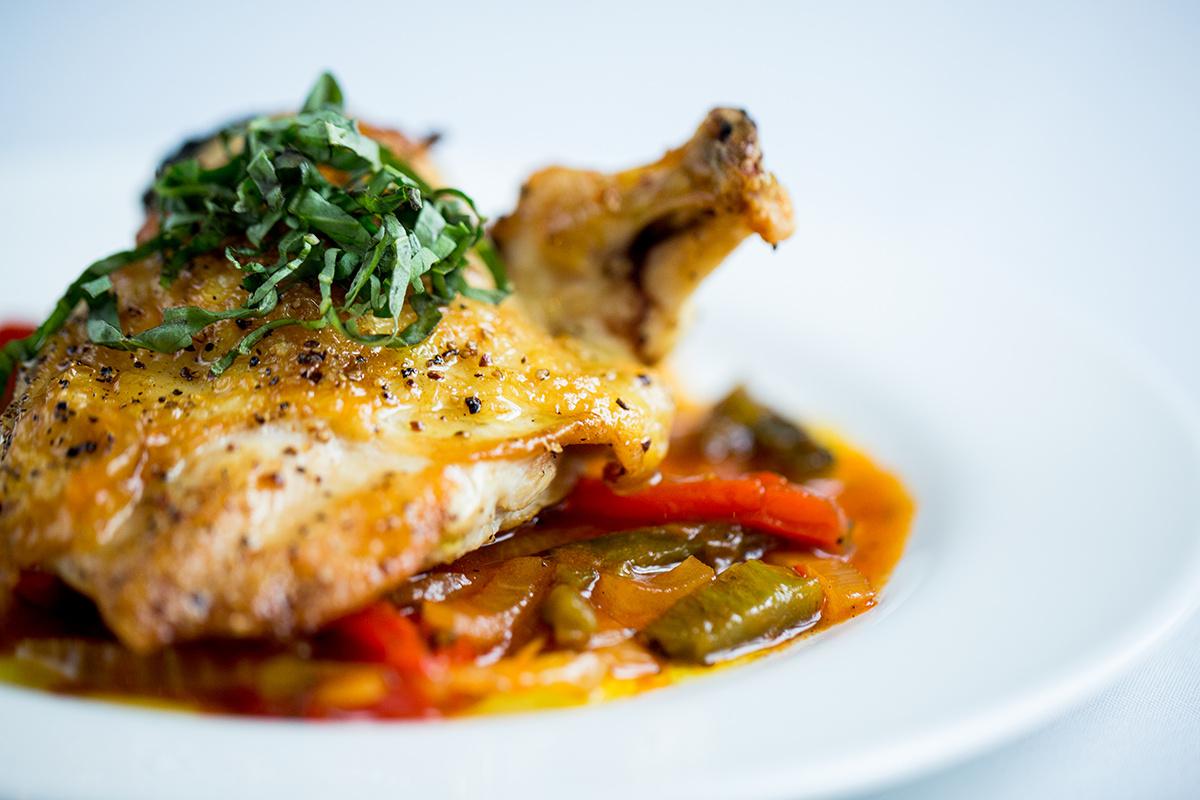 mediterranean-stuffed chicken breast with peperonata sauce