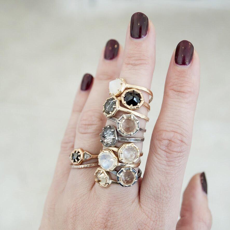 black rutile in quartz silver ring Tourmalinated quartz and diamond ring silver tourmaline in quartz and diamond ring