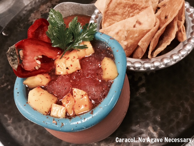 Caracol. No Agave Necessary. Mango, chamoy syrup, lime, red jalapeno, Mexican herbs, house made Tajin soda.png