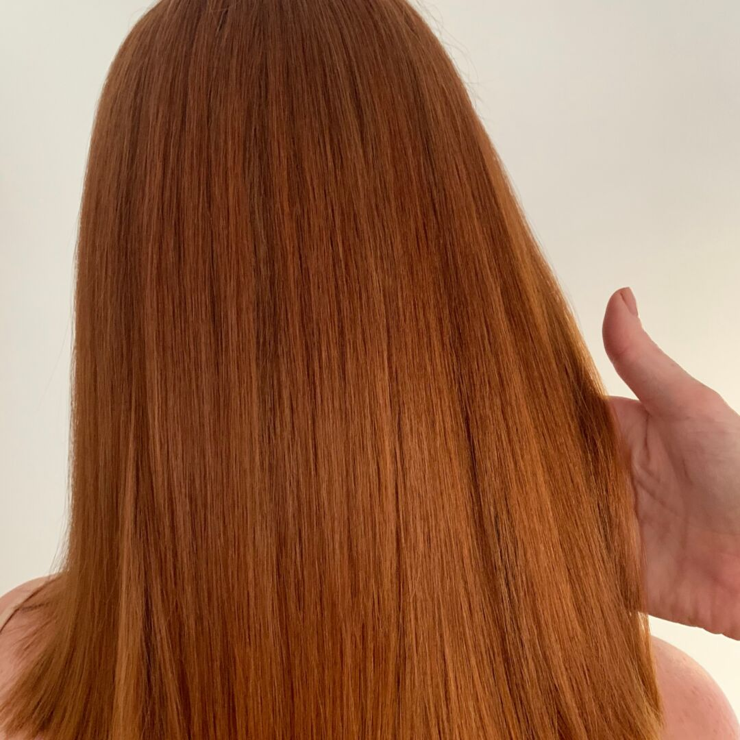 Just 2 hours later - After Keratin treatment, hair is straight, shiny, soft and smooth.