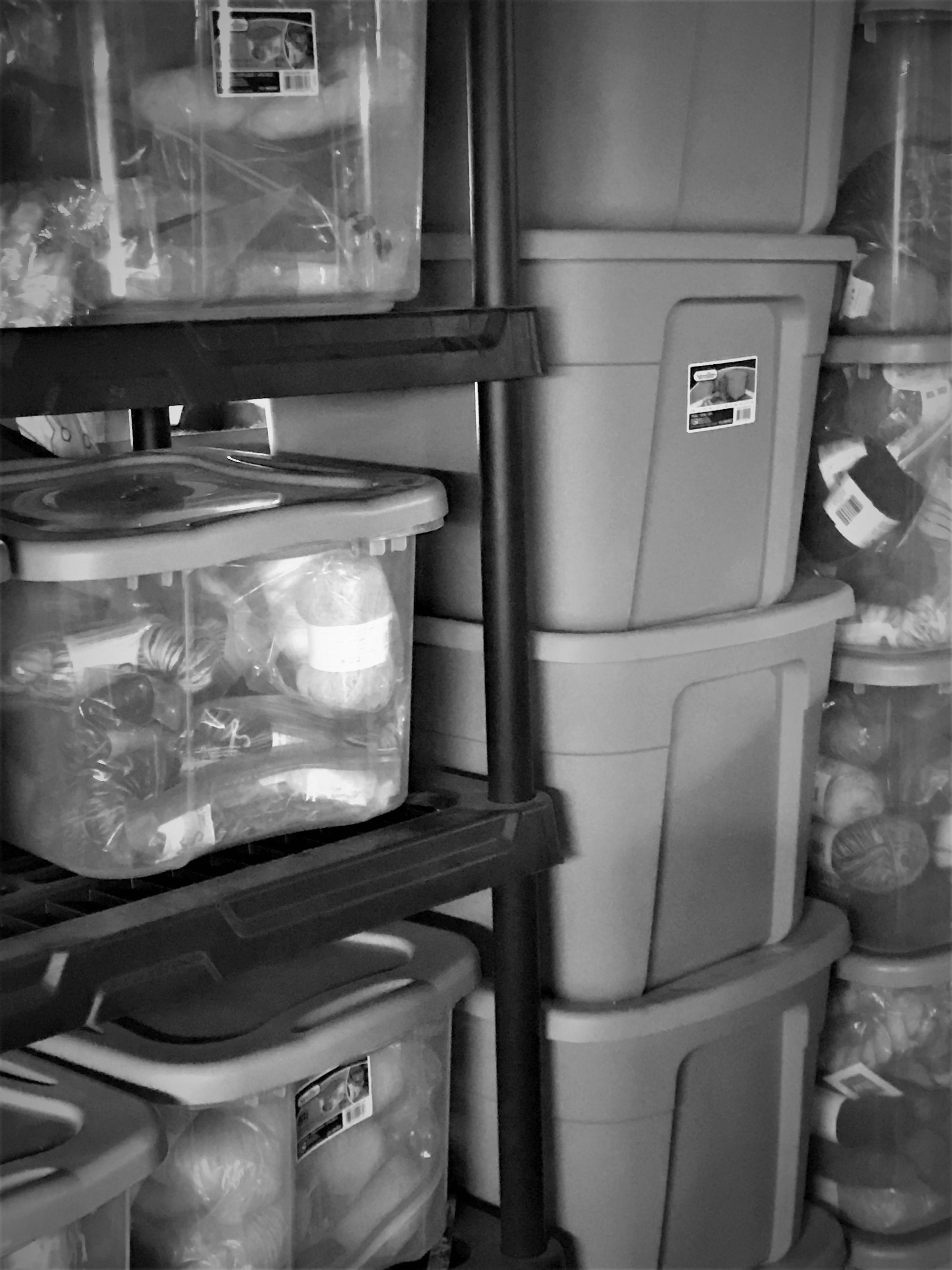 Some of my stash in action. I keep it in plastic bags inside of Sterilite containers with cedar rings in every container, as well as mothballs and cedar all over the shelving units to stave off moth infestation. I keep the bulk of my stash in my basement.