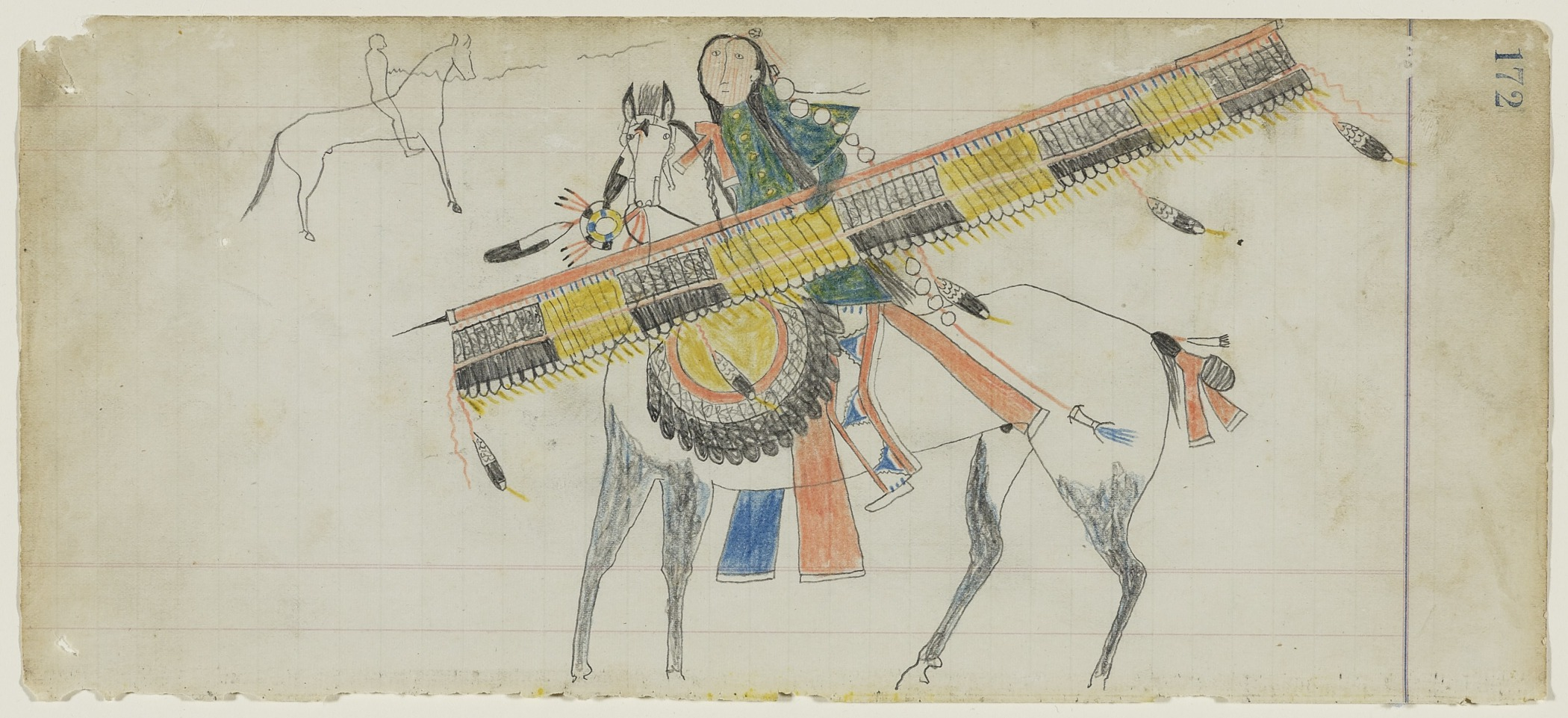 American (Southern Inunaina and/or Southern Tsistsistas), active late 19th century, Untitled (A Crazy Dog Society Warrior) , page 172 from the  Frank Henderson Ledger , about 1882. Graphite and colored pencil on laid ledger paper, 5 5/16 × 11 7/8 in. Hood Museum of Art, Dartmouth College: Mark Lansburgh Ledger Drawing Collection; Partial gift of Mark Lansburgh, Class of 1949; and partial purchase through the Mrs. Harvey P. Hood W'18 Fund, and the Offices of the President and Provost of Dartmouth College; 2007.65.51.