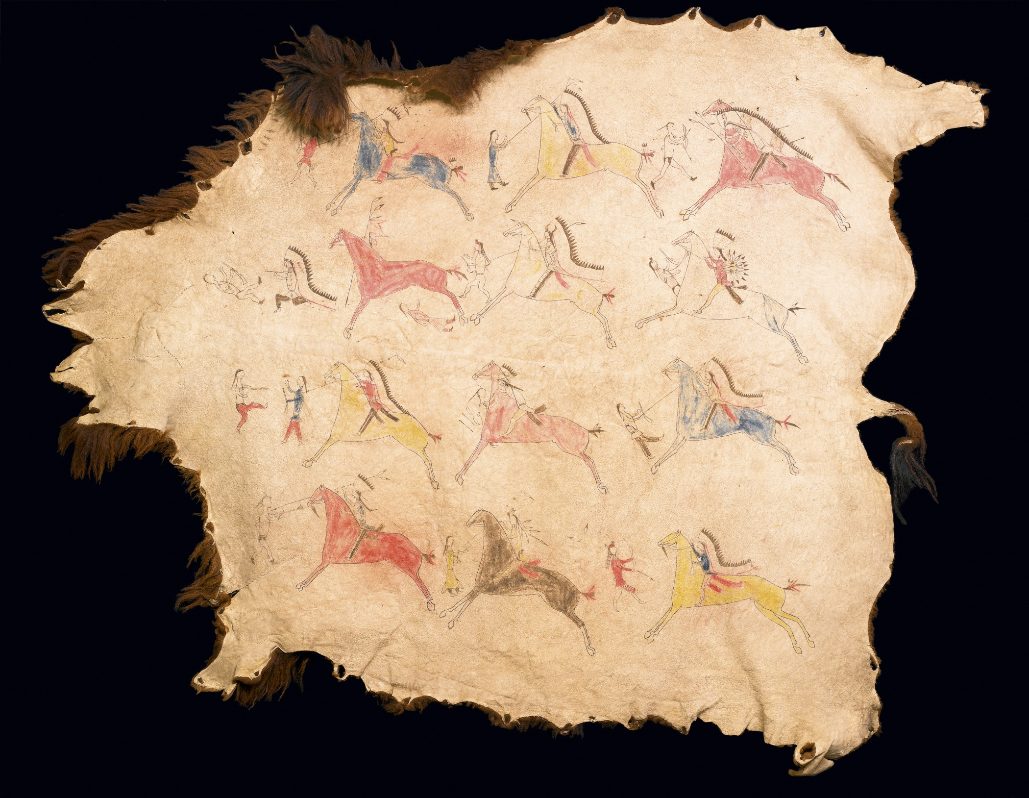 Sioux, pictorial buffalo robe, about 1870. Buffalo (American bison) hide, paint, ink, and sinew, 86 × 102 3/8 in. Hood Museum of Art, Dartmouth College: Purchased through the Florence and Lansing Porter Moore 1937 Fund; 2009.13.