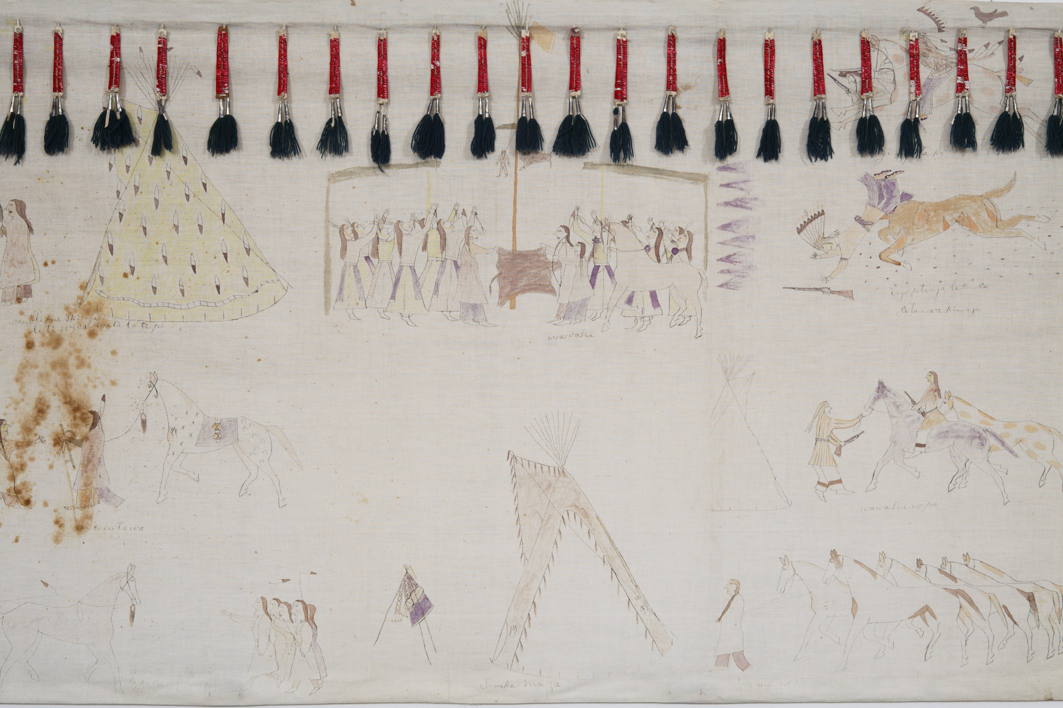 Hunkpapa Lakota, tipi liner depicting Cehupa's (Jaw) exploits, about 1910. Muslin, paint, porcupine quills, rawhide, native-tanned hide, cotton cloth, tin cones, dye, wool yarn, ink, string, and thread, 34 13/16 × 147 1/4 in. Hood Museum of Art, Dartmouth College: Purchased through the Mrs. Harvey P. Hood W'18 Fund; 2009.10.