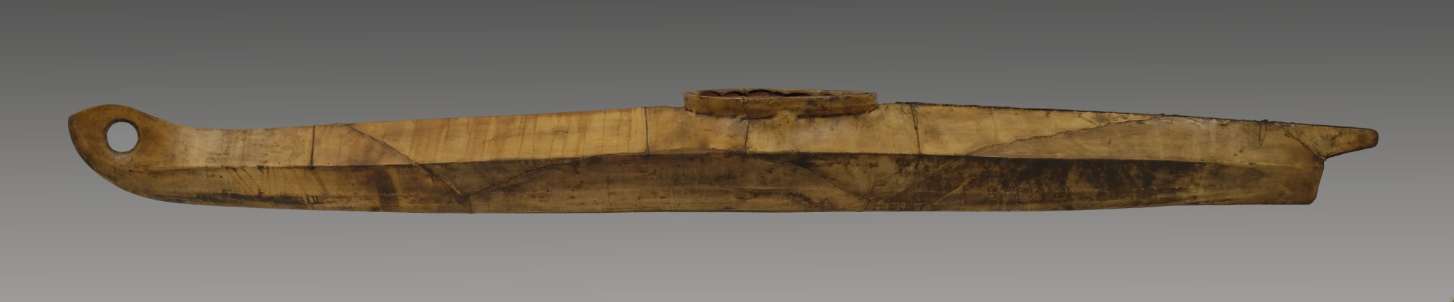 Yup'ik, one-hatch kayak, collected 1894. Wood and hide, 180 × 24 × 17 in.; weight: 40 lb. Hood Museum of Art, Dartmouth College: Gift of the Smithsonian Institution; 47.30.10864.