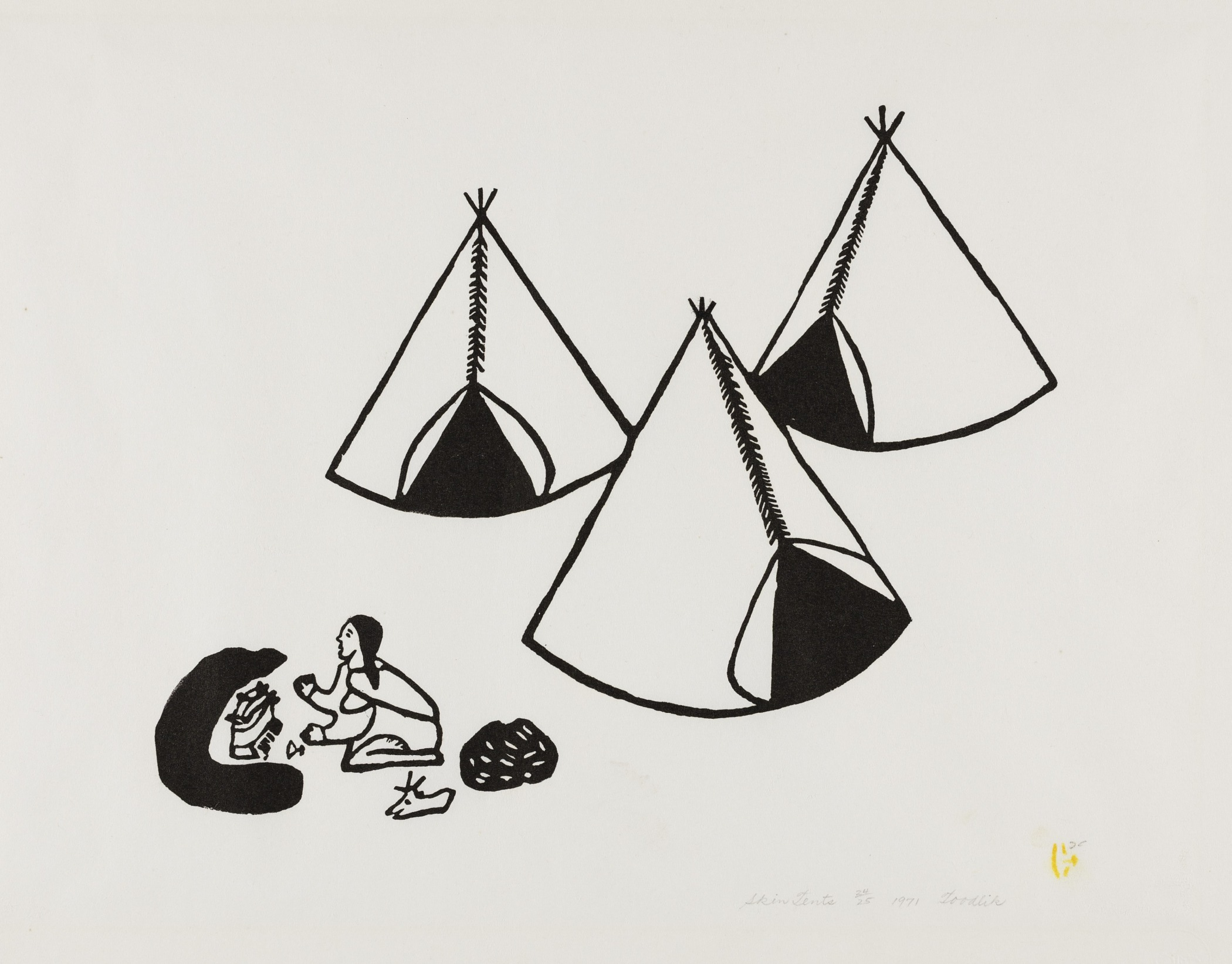 Margaret Toodlik Amarook, Canadian (Inuit), born 1942; Publisher: Sanavik Cooperative, Baker Lake,  Skin Tents , 1971. Stonecut print on paper, edition 24/25, 14 15/16 × 20 3/16 in. Hood Museum of Art, Dartmouth College: Gift of Willy E. Gorrissen; 179.17.25859.