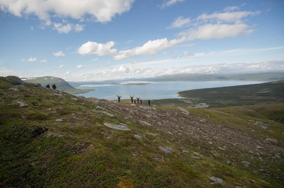 Troy Vegel stands with other members of his group while touring Laponia, a region of vast wilderness in northern Sweden.