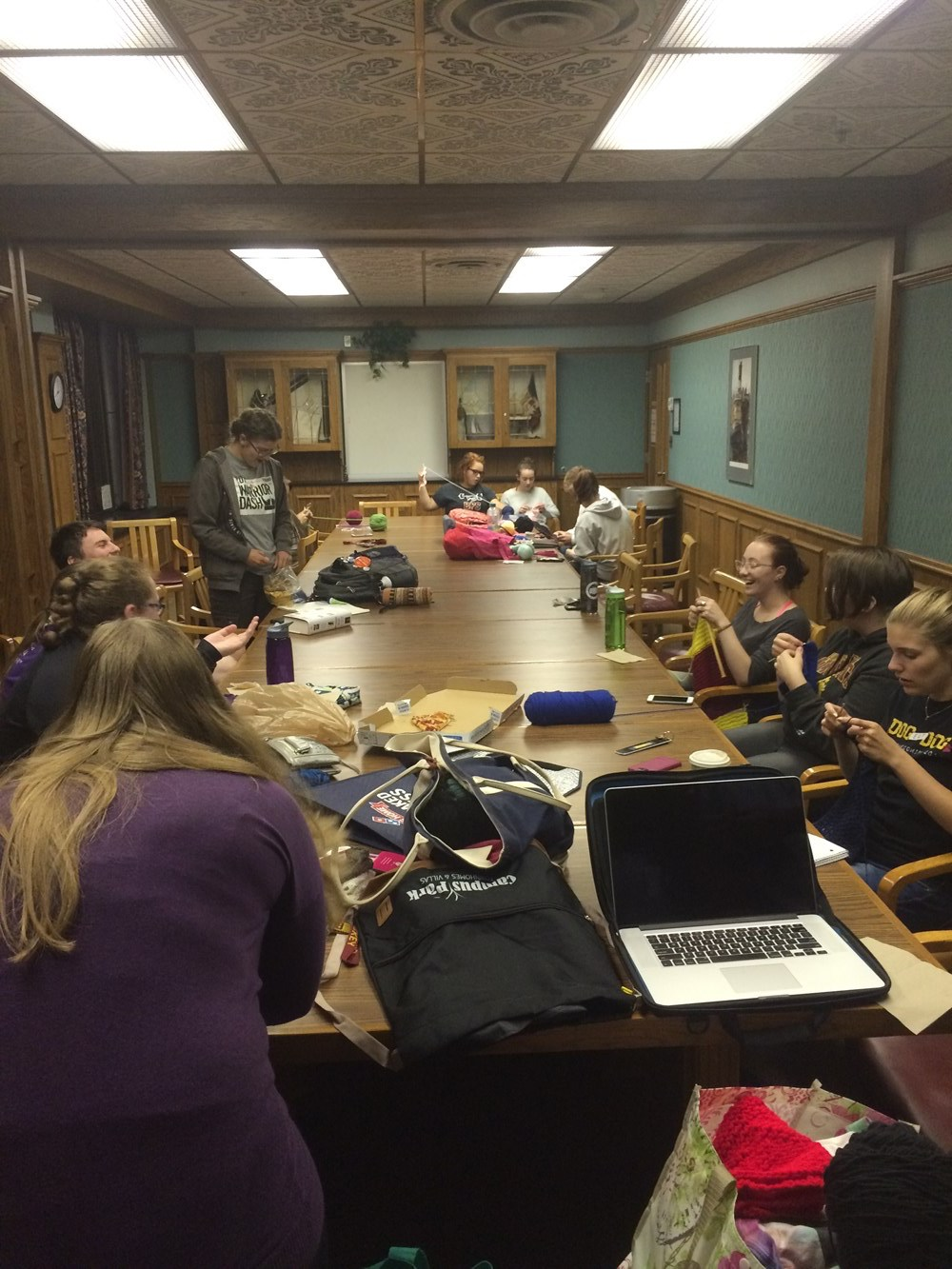 The Knit Wits at a typical meeting. Photo Courtesy of Emily Ferrier