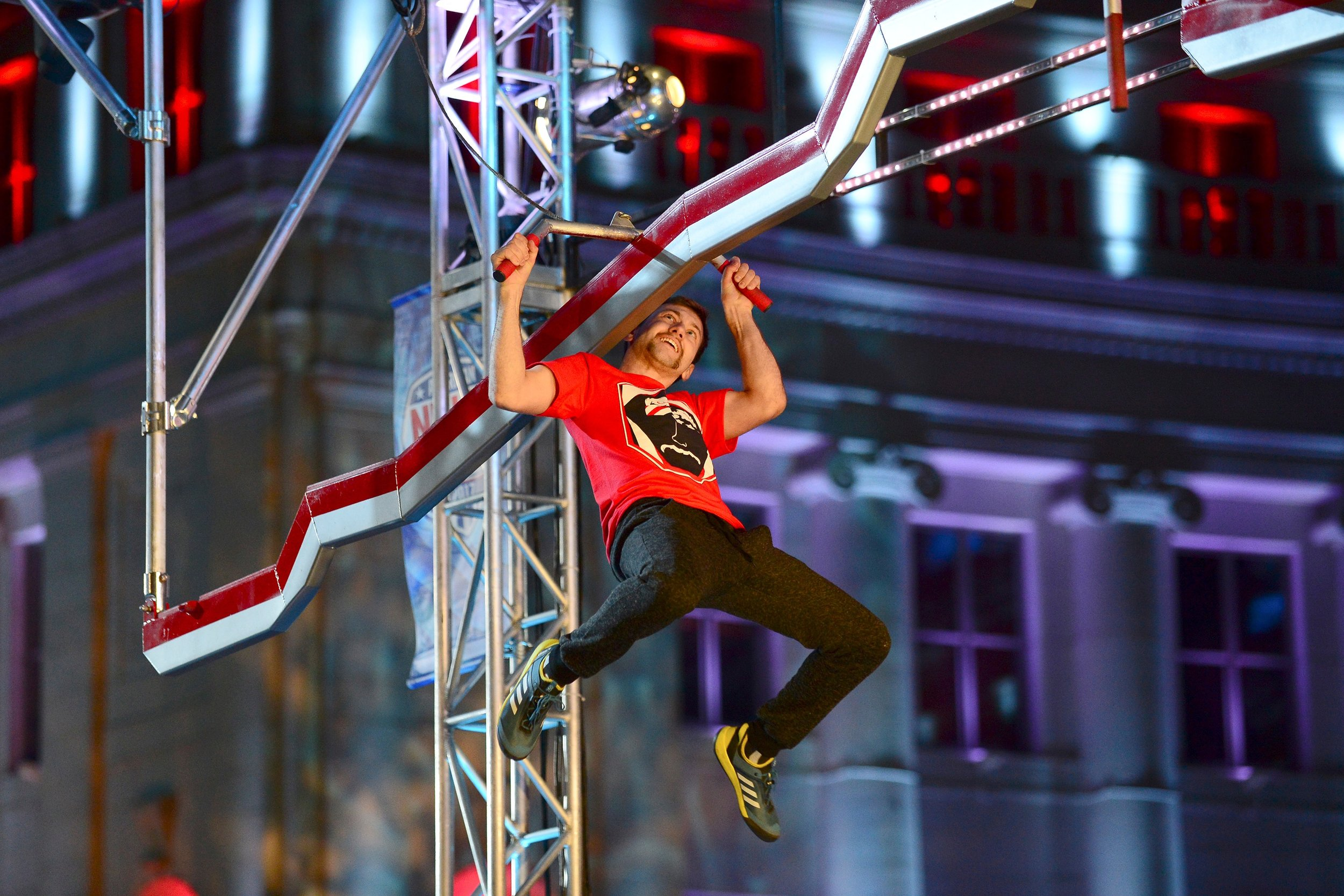 Knapp during his attempt at the American Ninja Warrior course. Photo courtesy of NBC