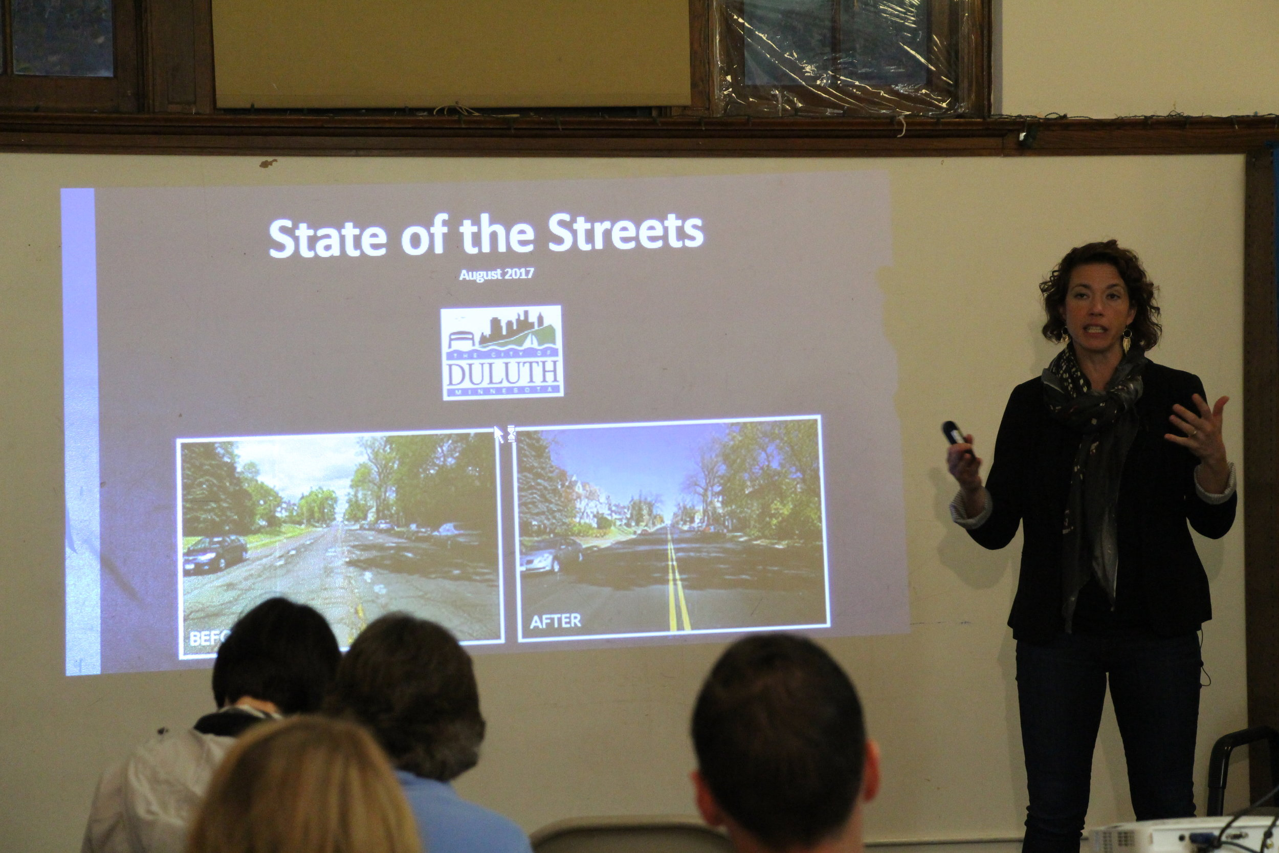 Mayor Emily Larson proposes the sales tax increase at a State of the Streets community meeting