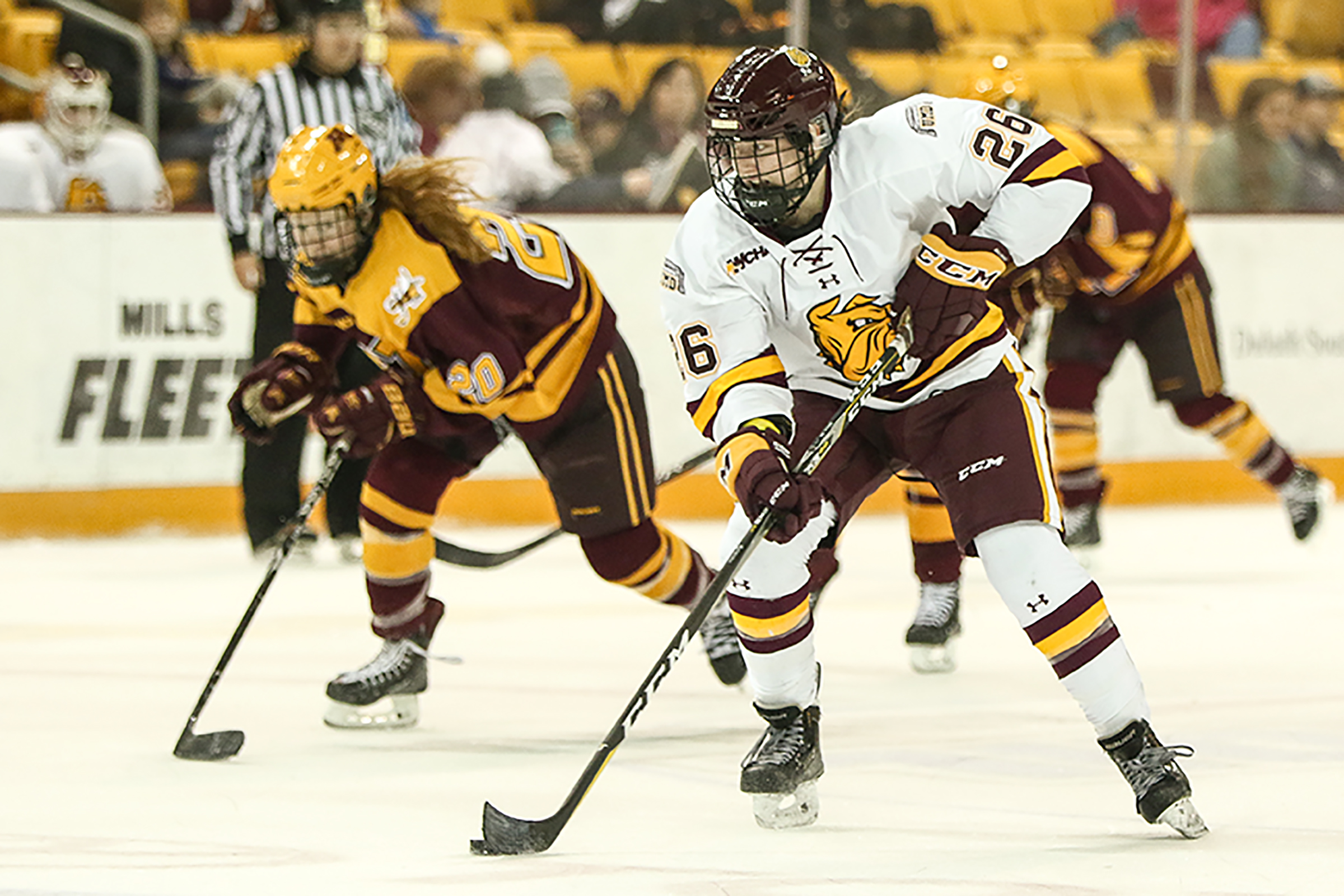 UMD right winger Ashton Bell scored the Bulldogs' lone goal of the afternoon in a close 2-1 loss to Minnesota at Amsoil Arena. Photo by Dave Harwig.