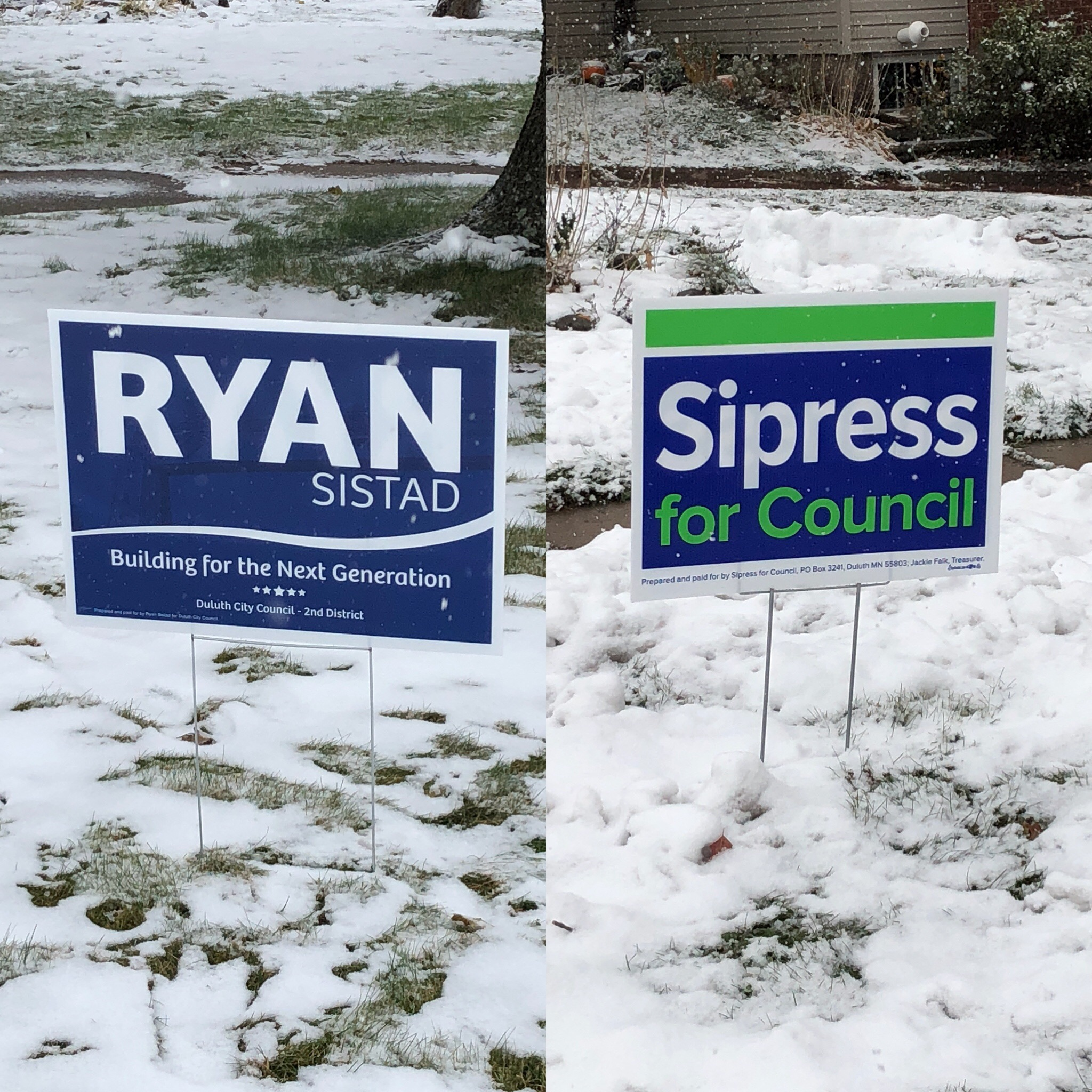 Campaign signs for both candidates are placed along roads in Duluth's second District
