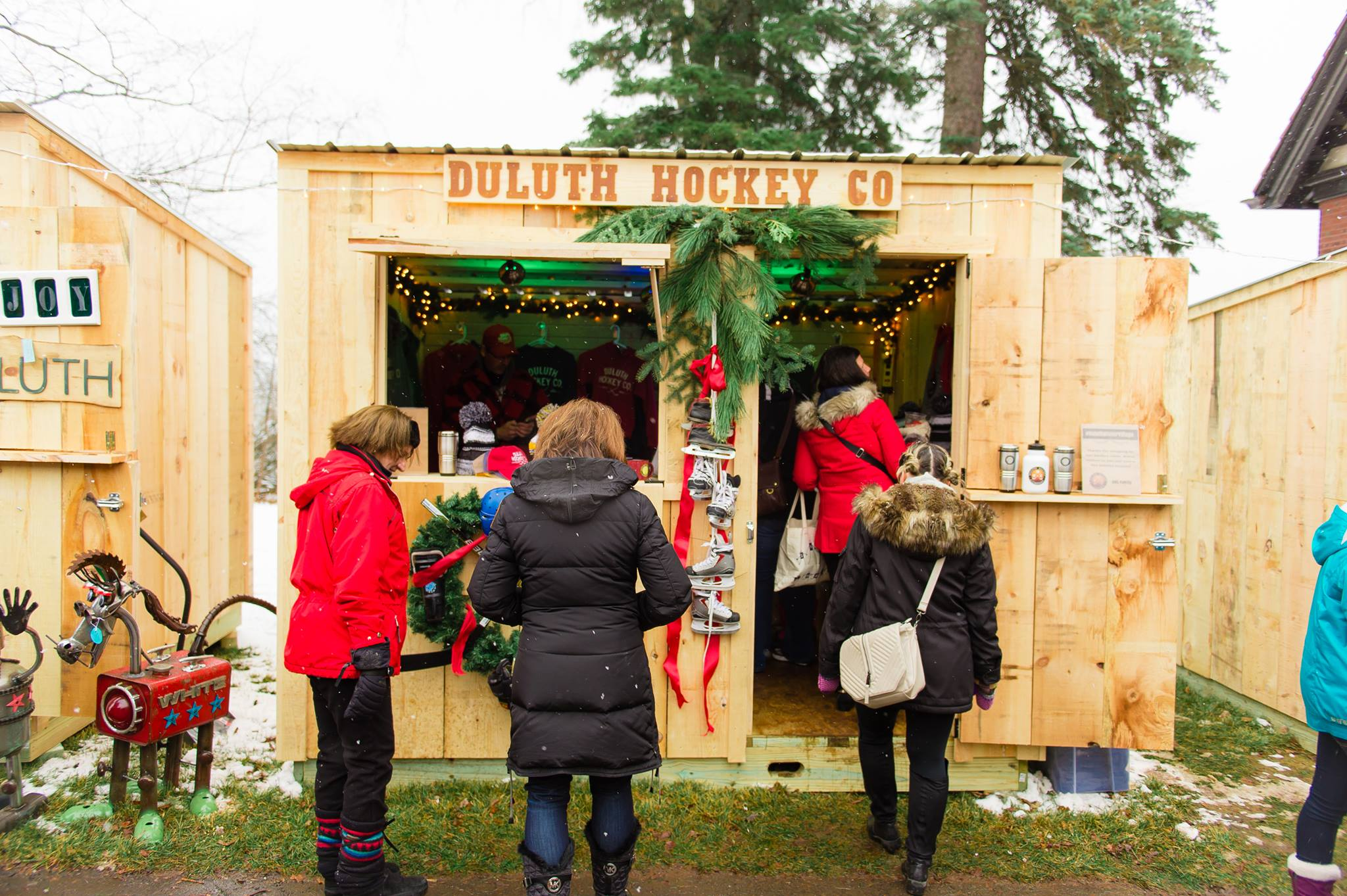 Local businesses operate out of the Winter Village cabins. Photo courtesy of Duluth Winter Village.