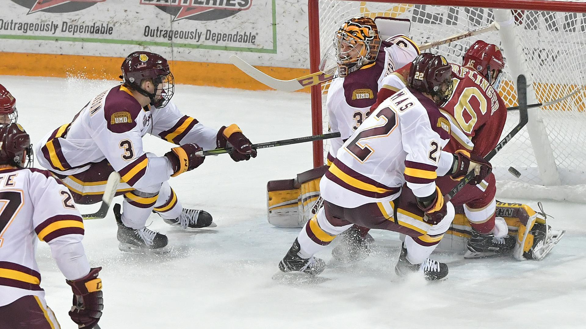 DU's game winning goal by Jake Durflinger. Photo courtesy of Brett Groehler