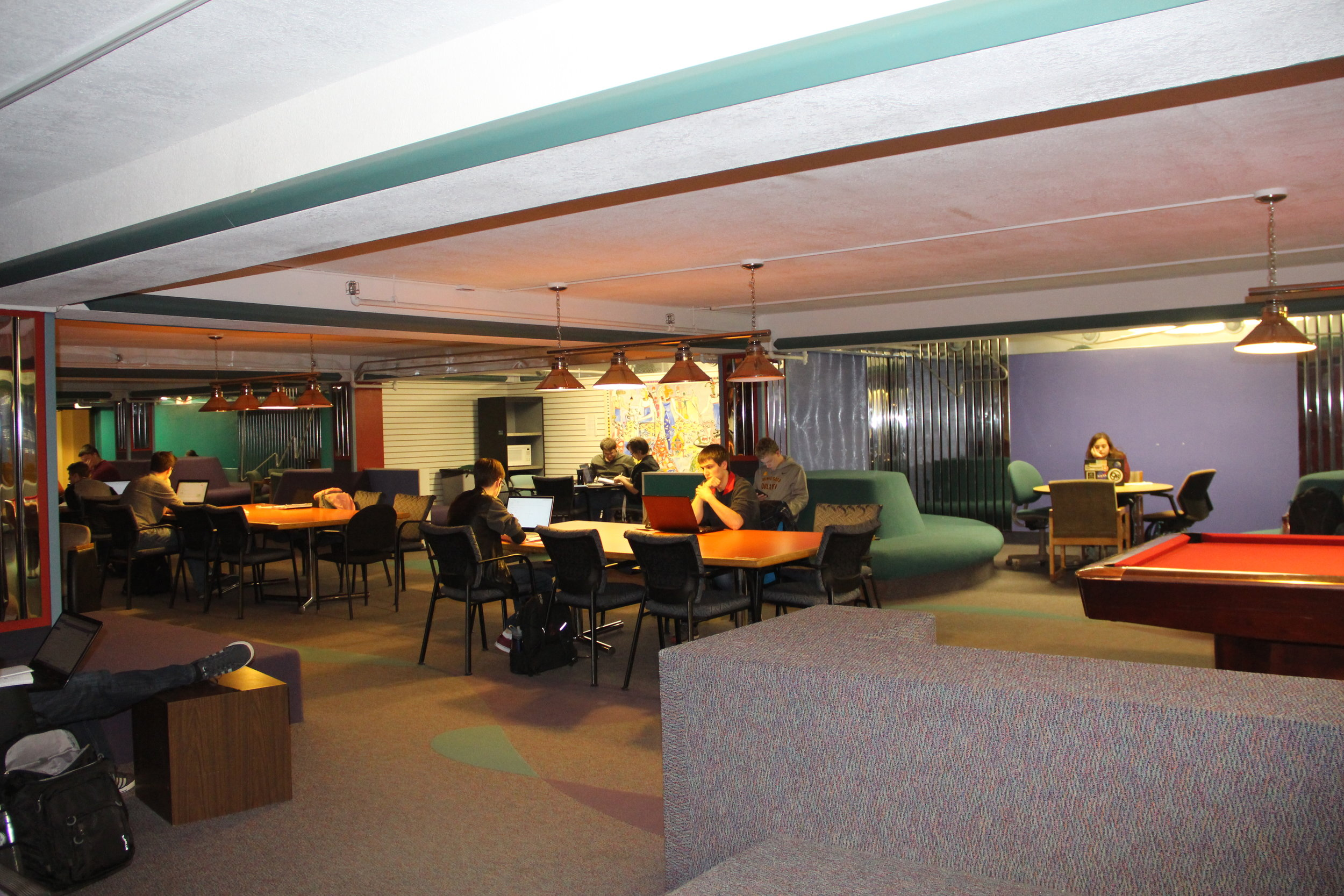 One of the most unique study areas at UMD, the Kirby Underground Lounge features quiet study areas, music and games. Photo by Tyler Schendel.